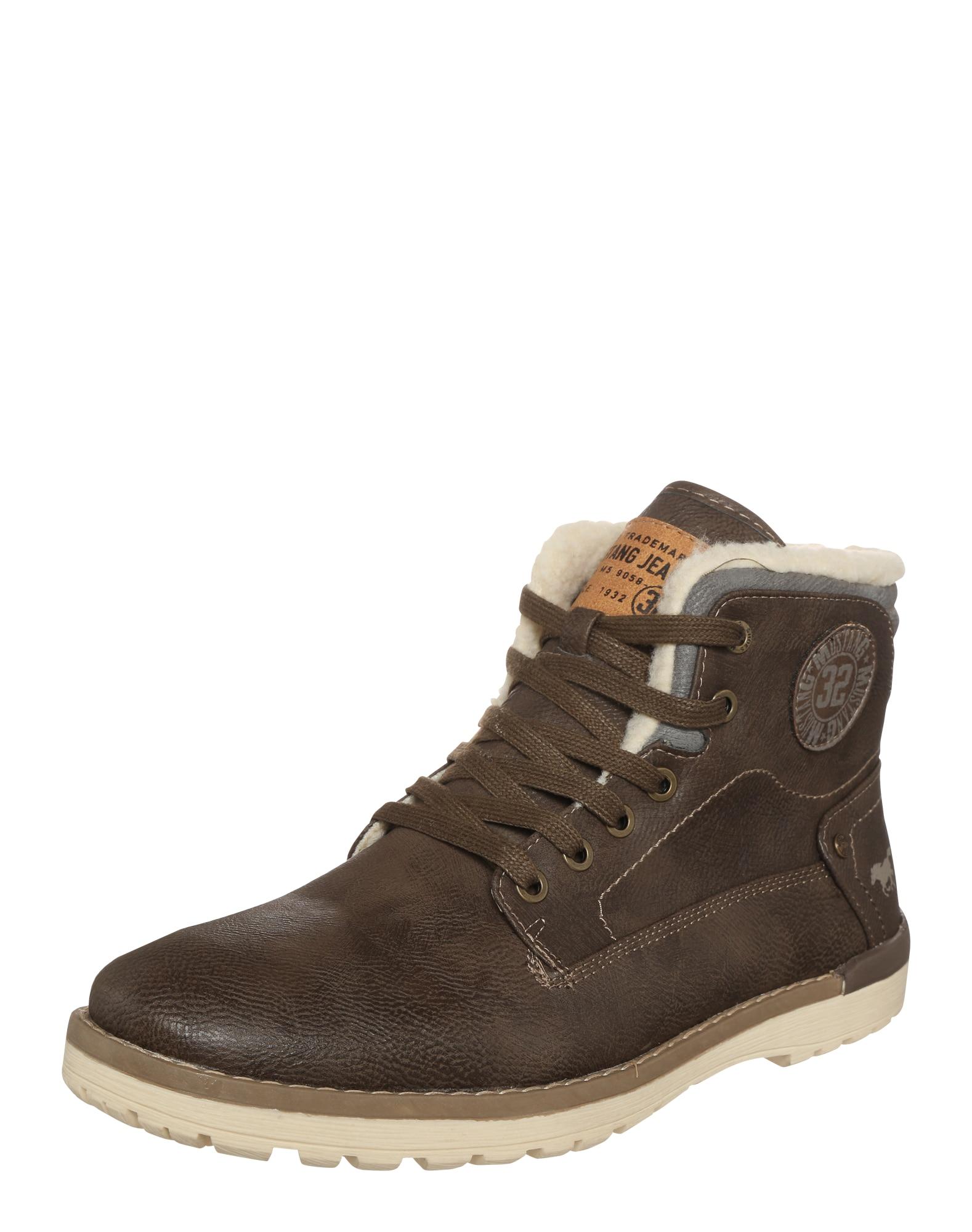 Šněrovací boty tmavě hnědá MUSTANG