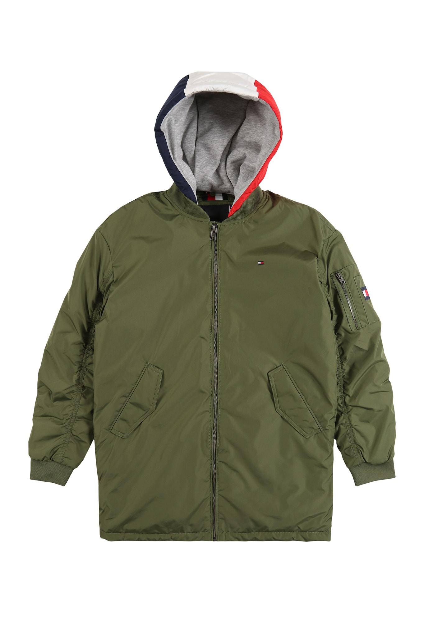TOMMY HILFIGER Prechodná bunda  červená / olivová / biela / námornícka modrá