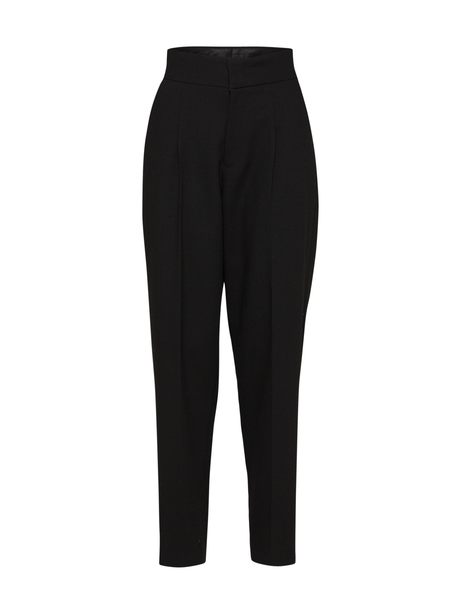 Kalhoty se sklady v pase Posagara černá POSTYR