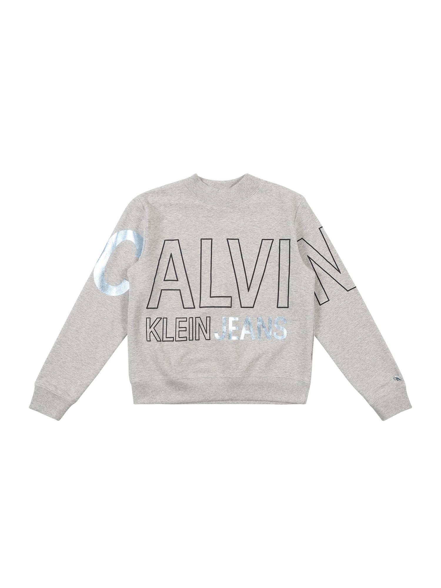 Calvin Klein Jeans Megztinis be užsegimo 'LOGO FOIL BOXY FIT S' šviesiai pilka