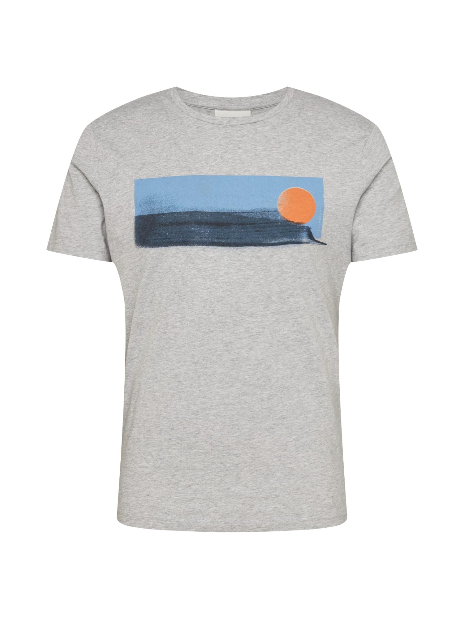 ARMEDANGELS Marškinėliai 'JAAMES BEACH' pilka / šviesiai mėlyna / tamsiai mėlyna / oranžinė