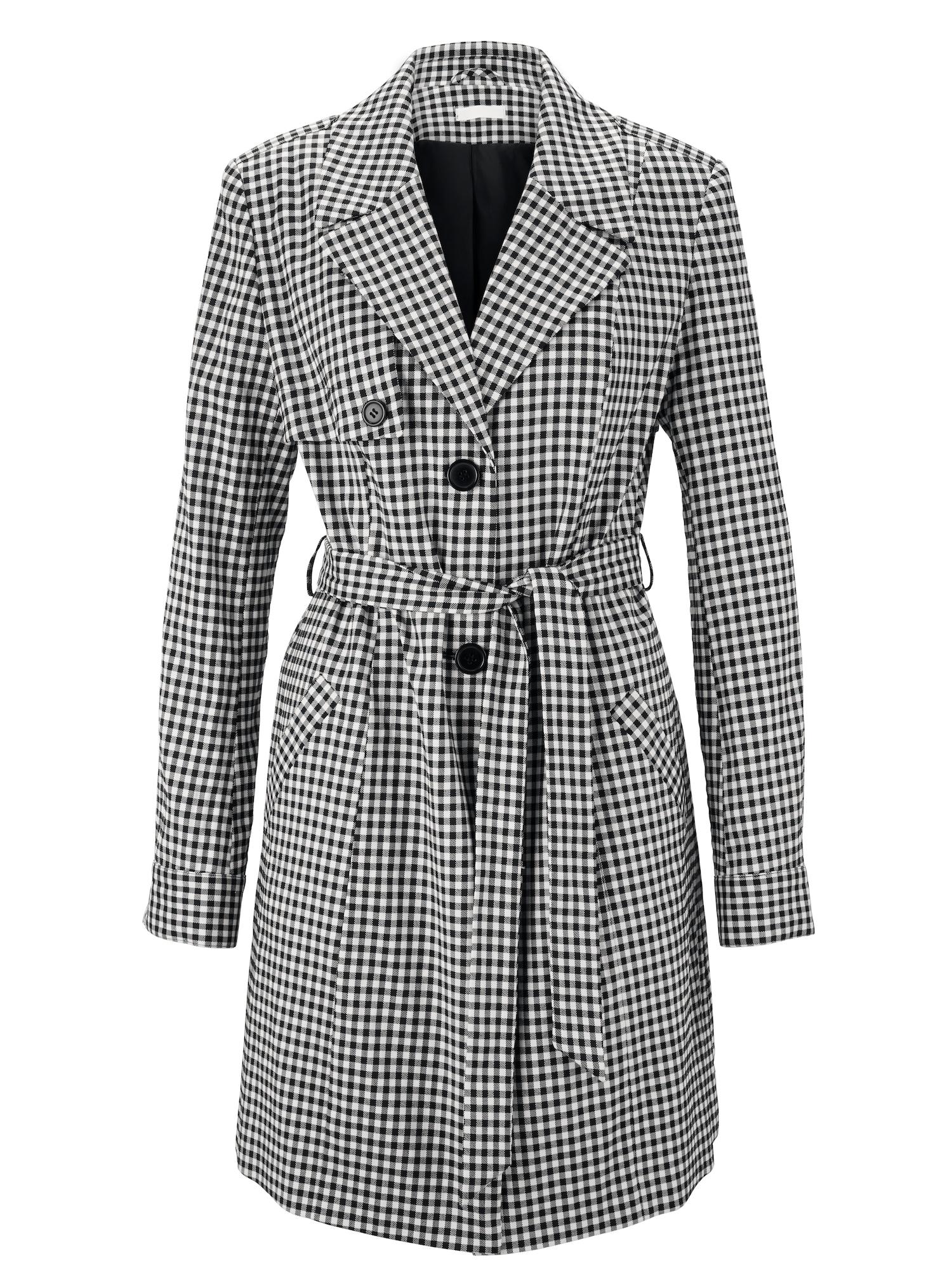 Přechodný kabát Trenchcoat černá bílá Heine