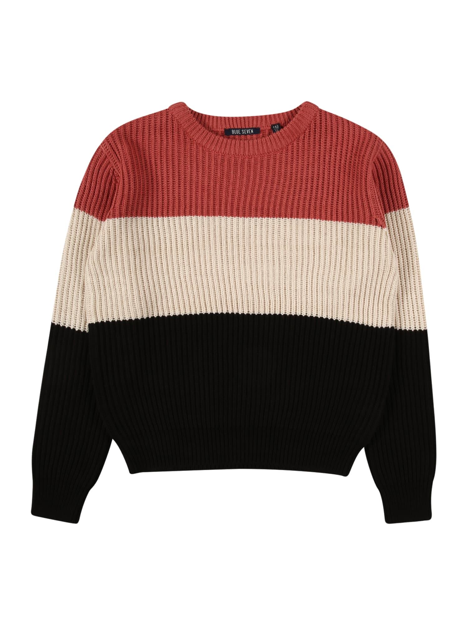 BLUE SEVEN Megztinis smėlio / juoda / karmino raudona