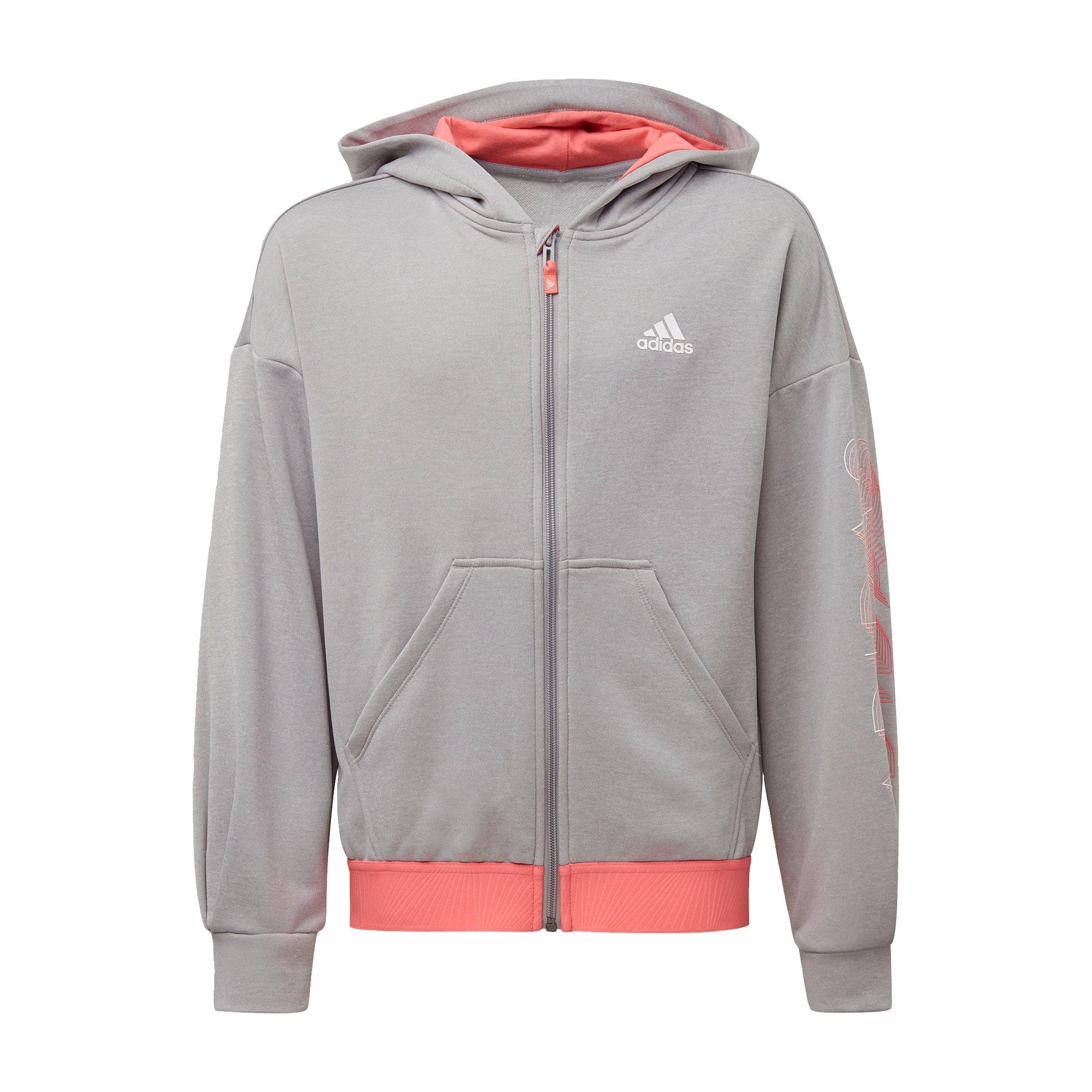 ADIDAS PERFORMANCE Sportinis džemperis omarų spalva / balta / margai pilka