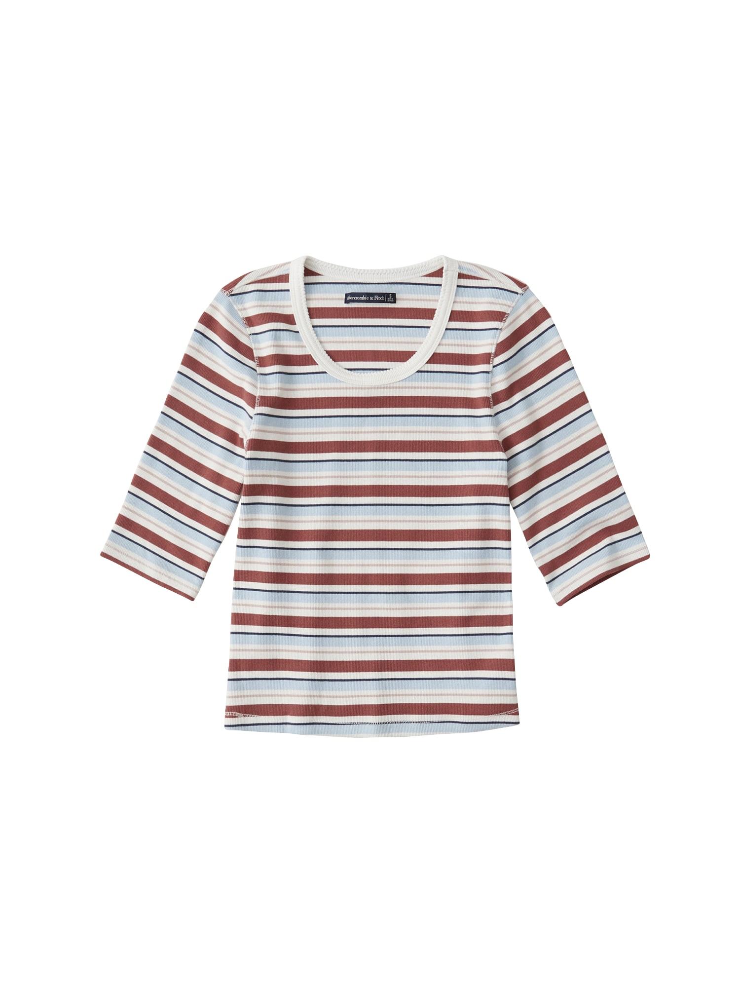 Abercrombie & Fitch Marškinėliai šviesiai mėlyna / vyno raudona spalva / balta