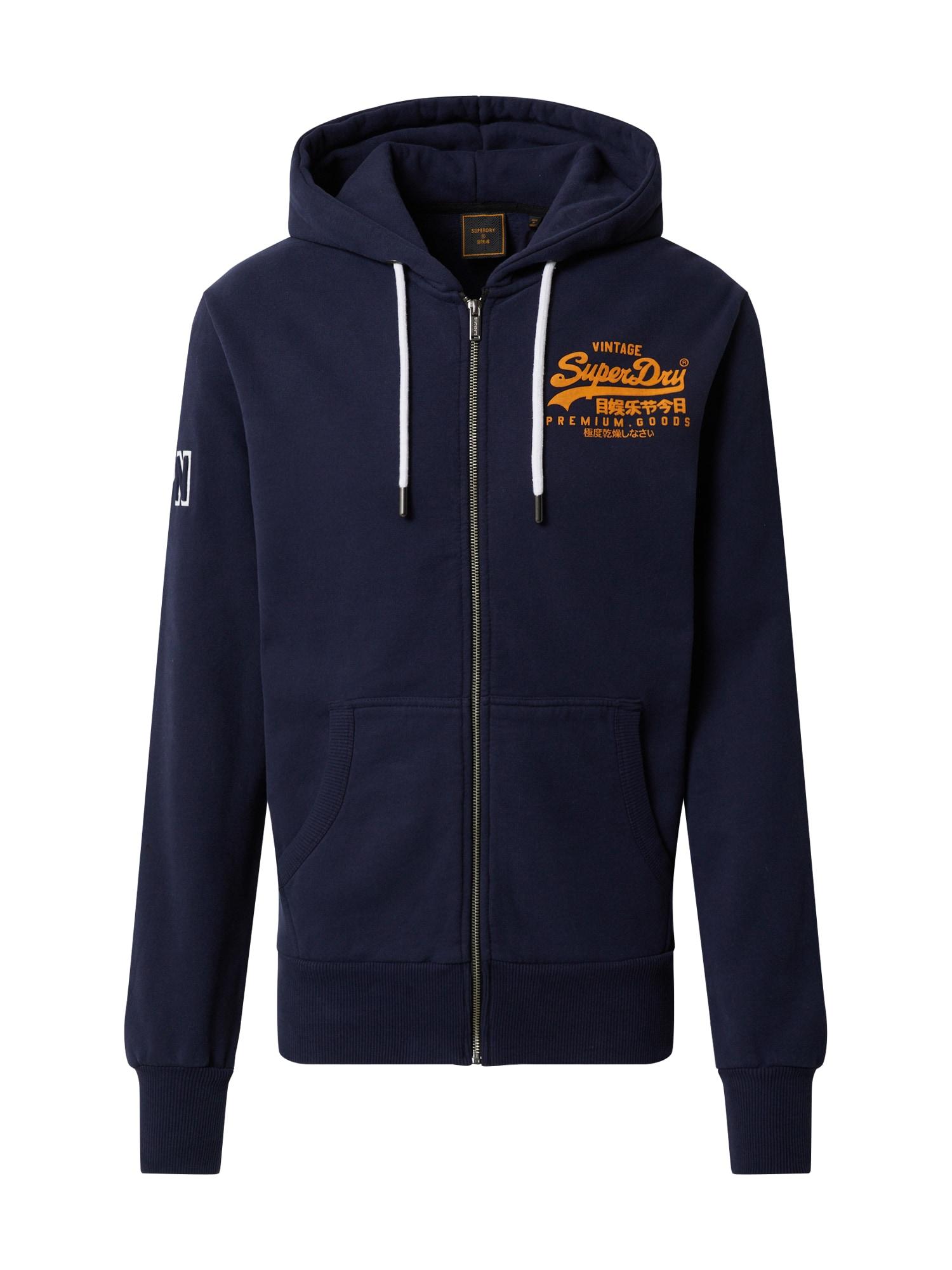 Superdry Džemperis 'EMBOSS' tamsiai mėlyna / oranžinė / balta