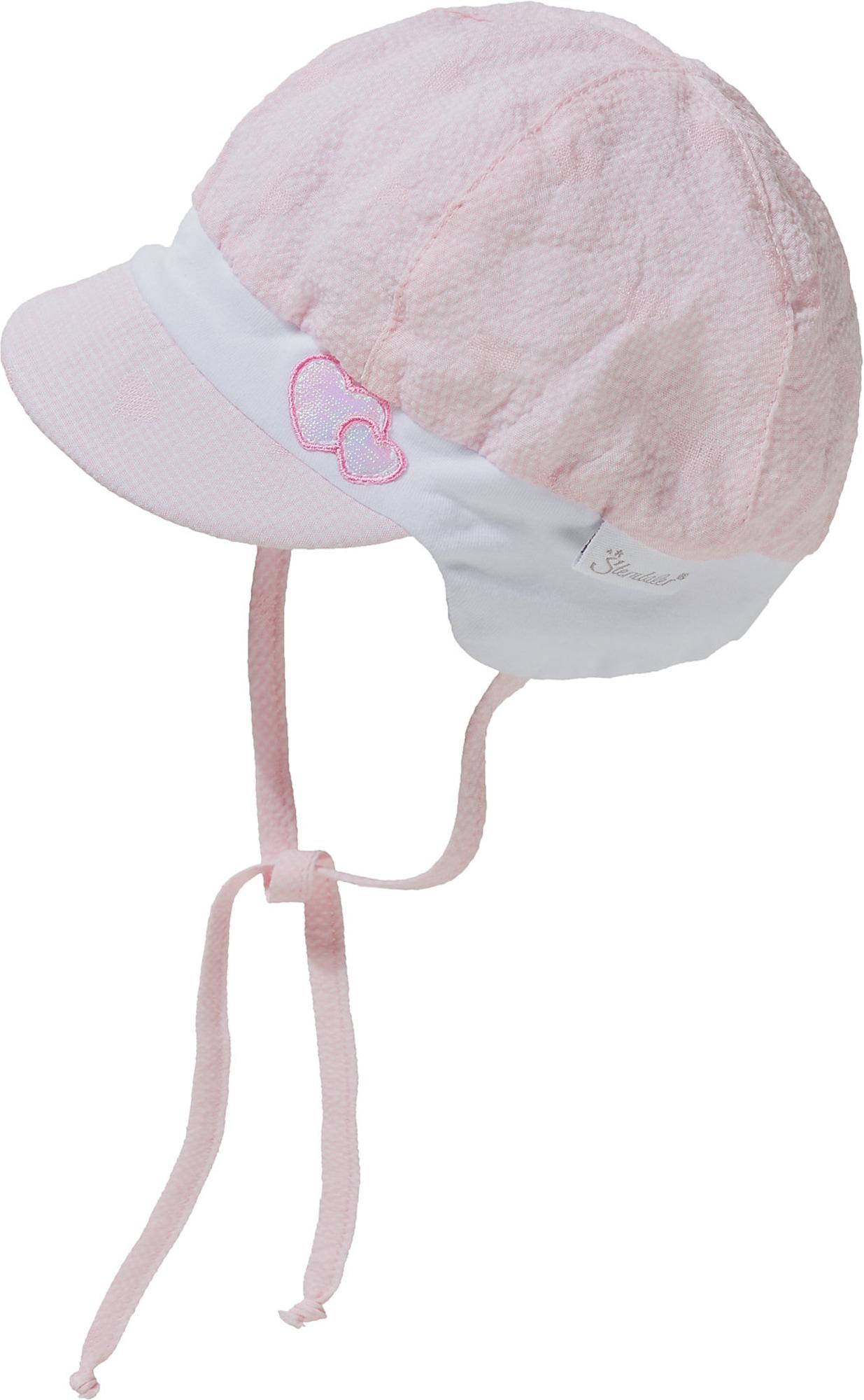 STERNTALER Megzta kepurė rožių spalva / balta / sidabrinė / tamsiai rožinė