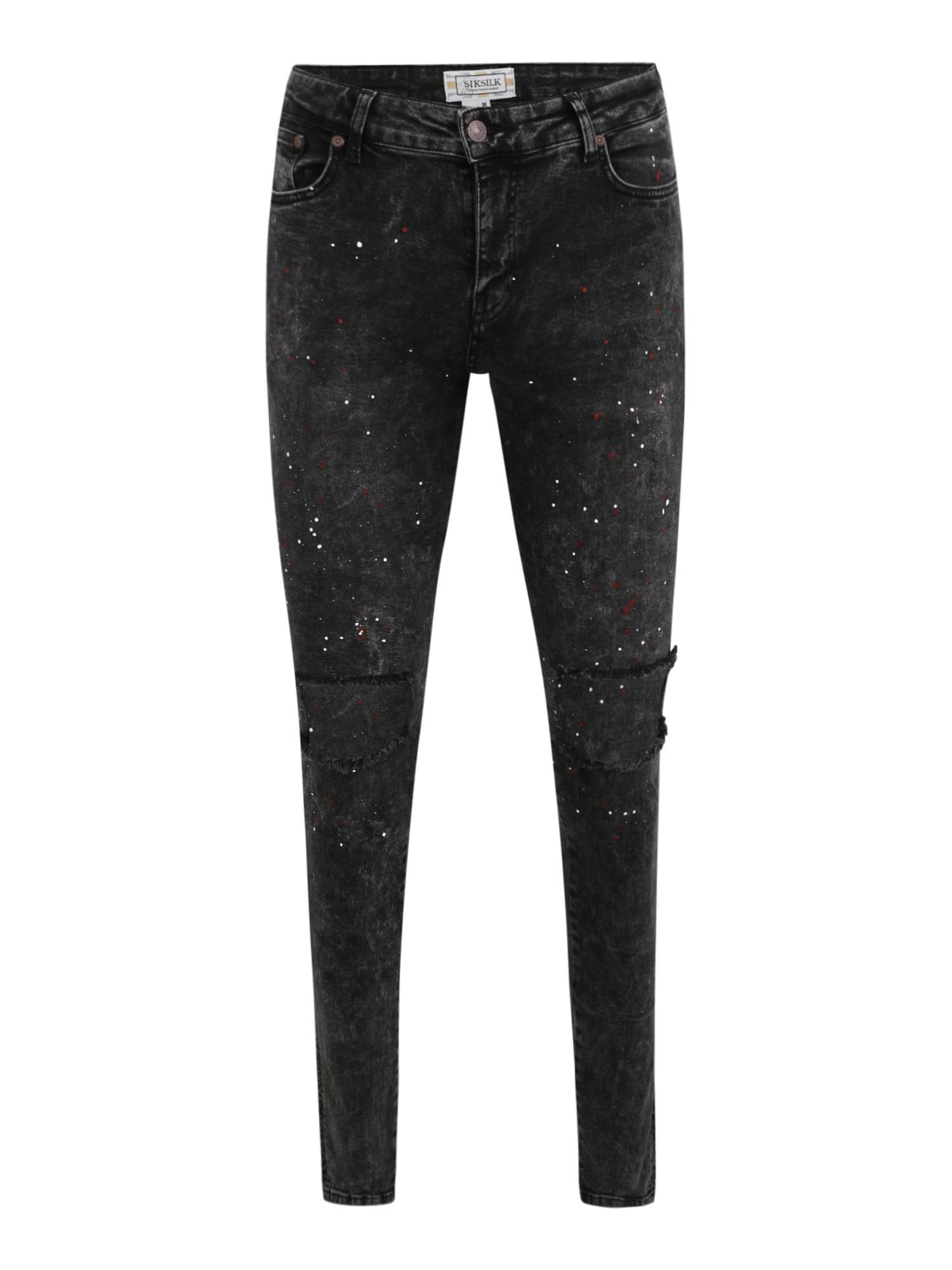 SikSilk Džinsai 'Bust Knee Riot' juodo džinso spalva / raudona / balta