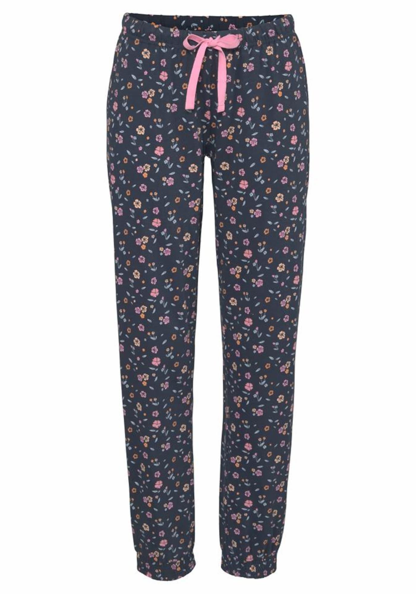 VIVANCE Pižaminės kelnės tamsiai mėlyna / rožių spalva / oranžinė / mėtų spalva