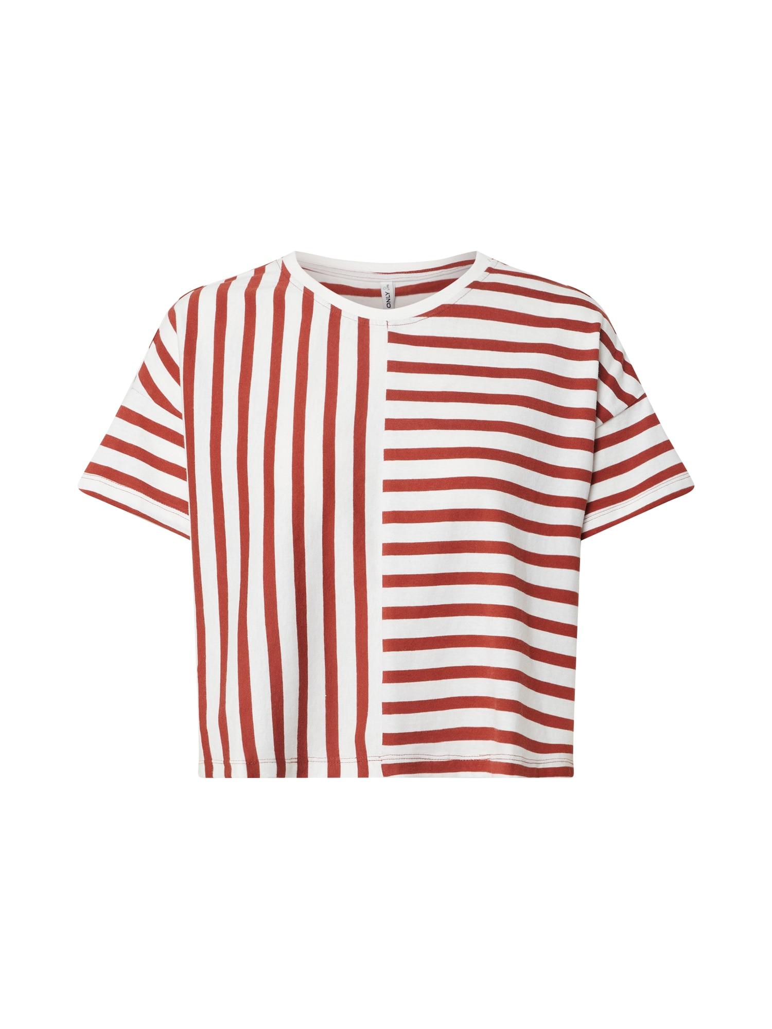 ONLY Tričko 'Marie'  šedobiela / červené