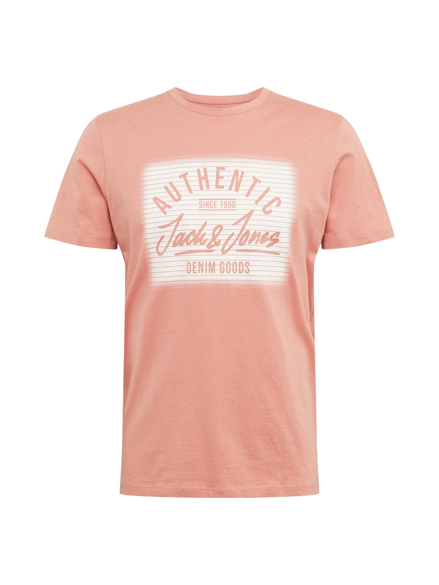 JACK & JONES Tričko 'JORLIGHTEN'  ružová / biela