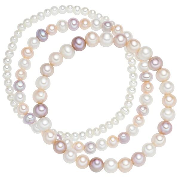 Armbaender für Frauen - Valero Pearls Armband 3er Set mit Perlenbesatz flieder apricot naturweiß  - Onlineshop ABOUT YOU
