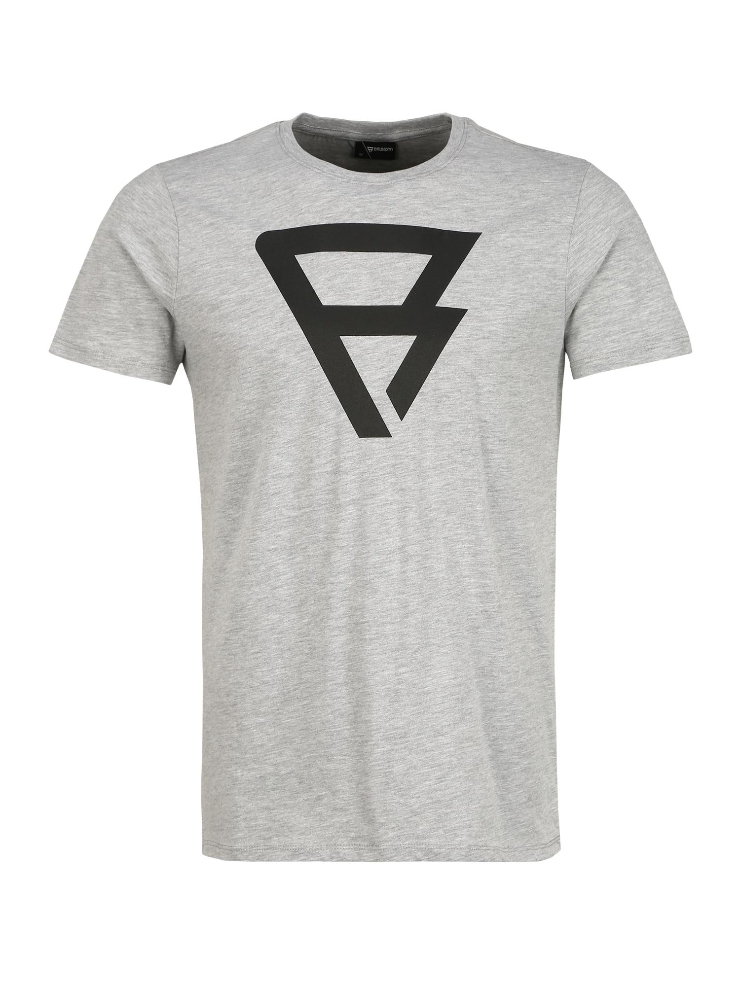 BRUNOTTI Sportiniai marškinėliai 'Herring' šviesiai pilka / juoda