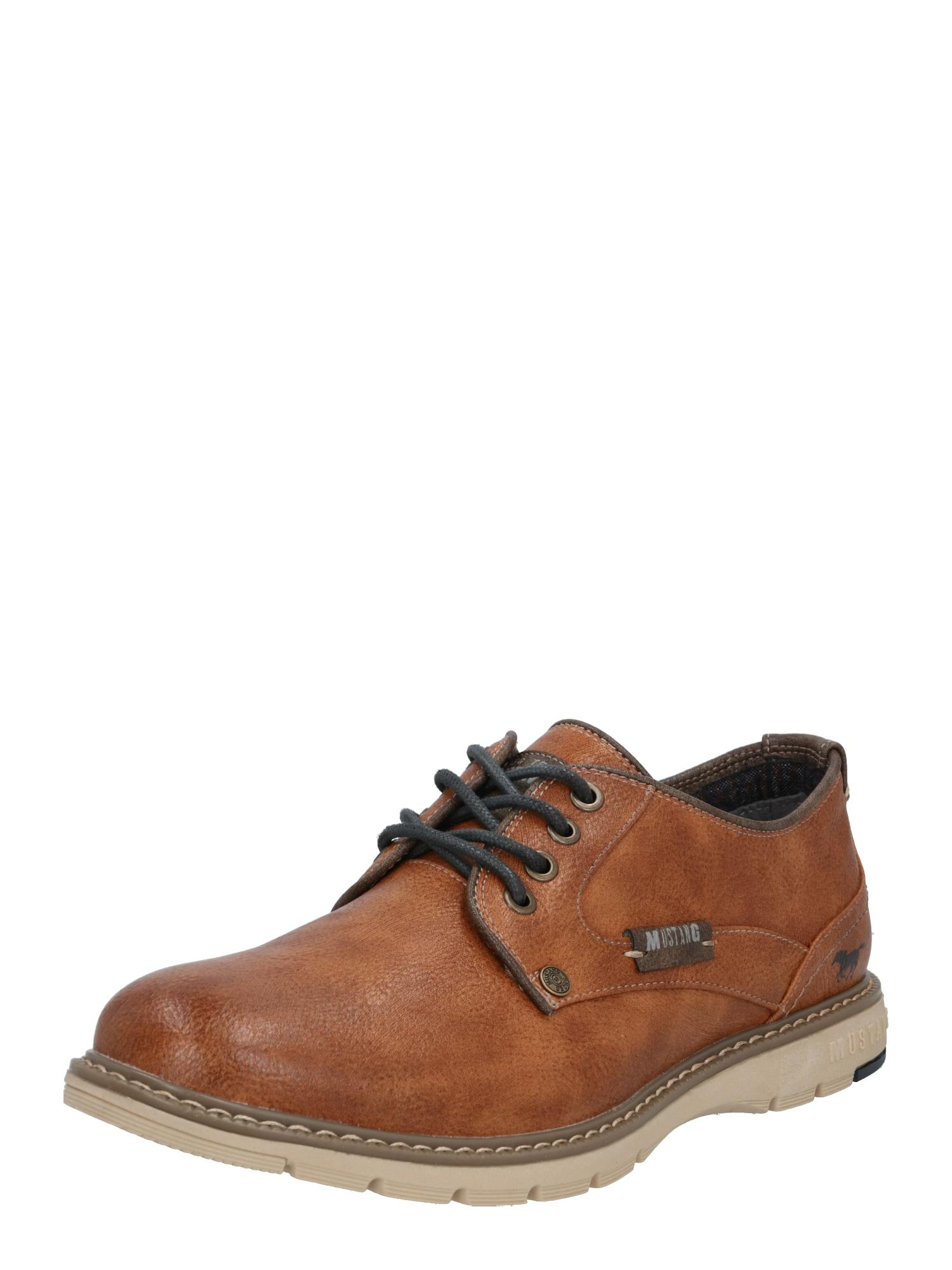 MUSTANG Sportinio stiliaus batai su raišteliais ruda (konjako)