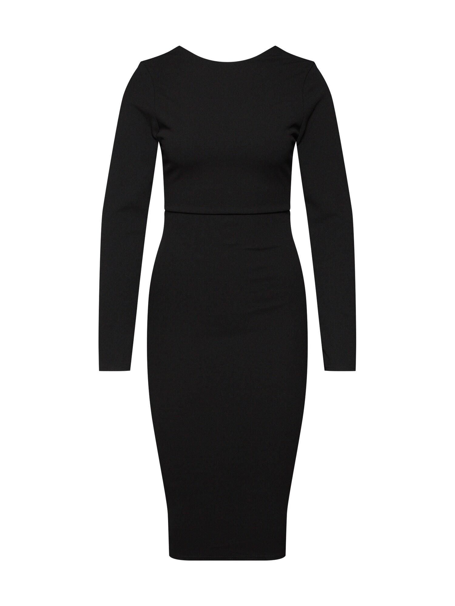 Šaty LOW BACK MIDI DRESS černá Missguided