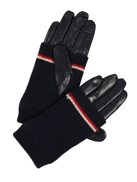 Handschuhe für Frauen - Handschuhe 'LONG CUFF LEATHER GLOVES' › Tommy Hilfiger › dunkelblau  - Onlineshop ABOUT YOU