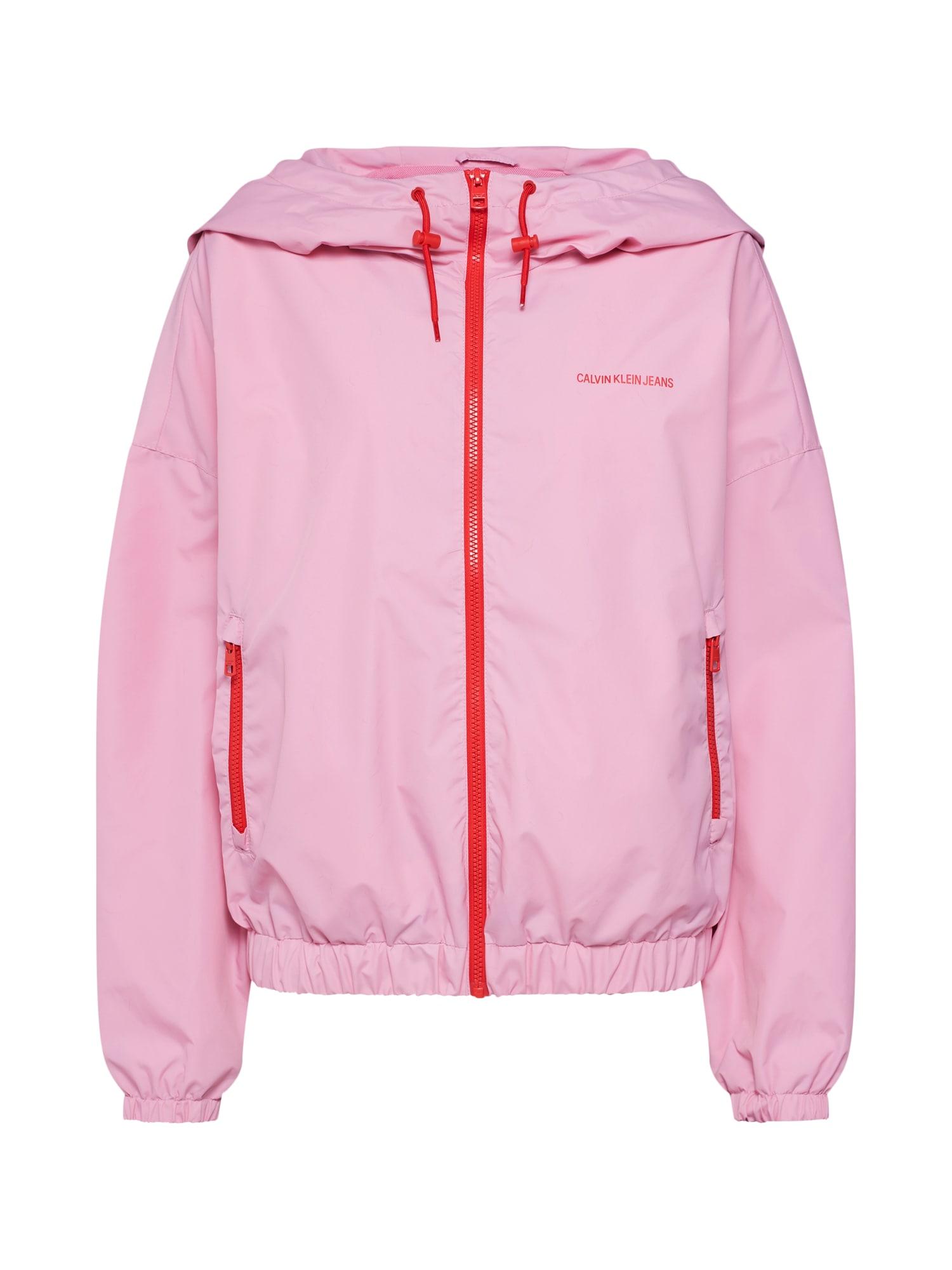 Přechodná bunda NYLON WINDBREAKER růžová červená Calvin Klein Jeans