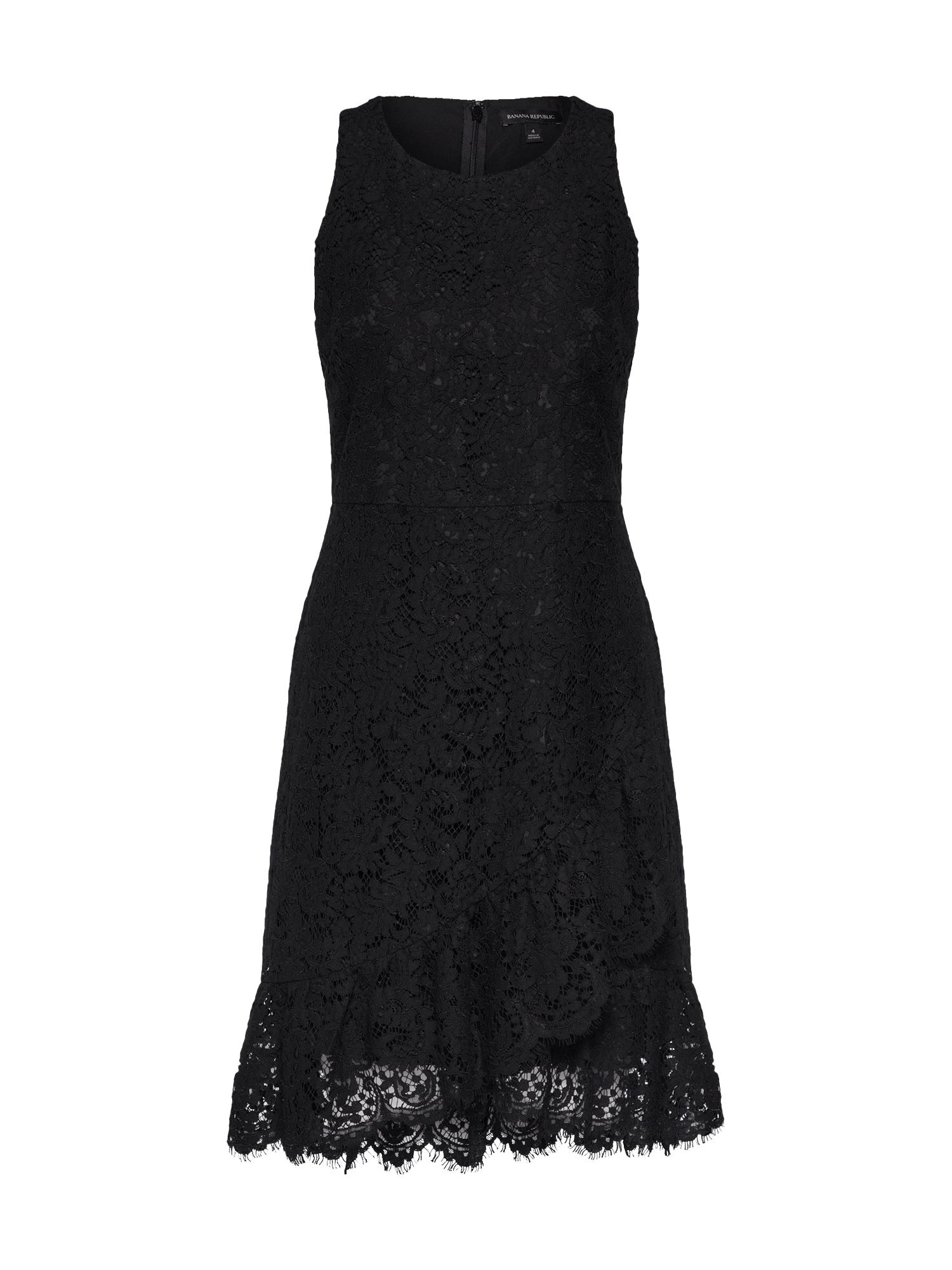 Koktejlové šaty LACE FAUX WRAP černá Banana Republic
