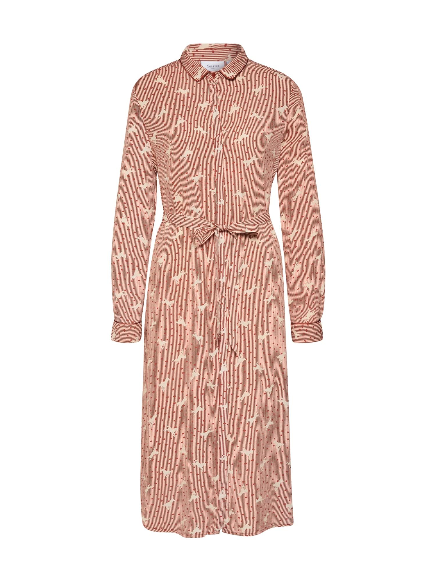 SAINT TROPEZ Palaidinės tipo suknelė šviesiai ruda / balta