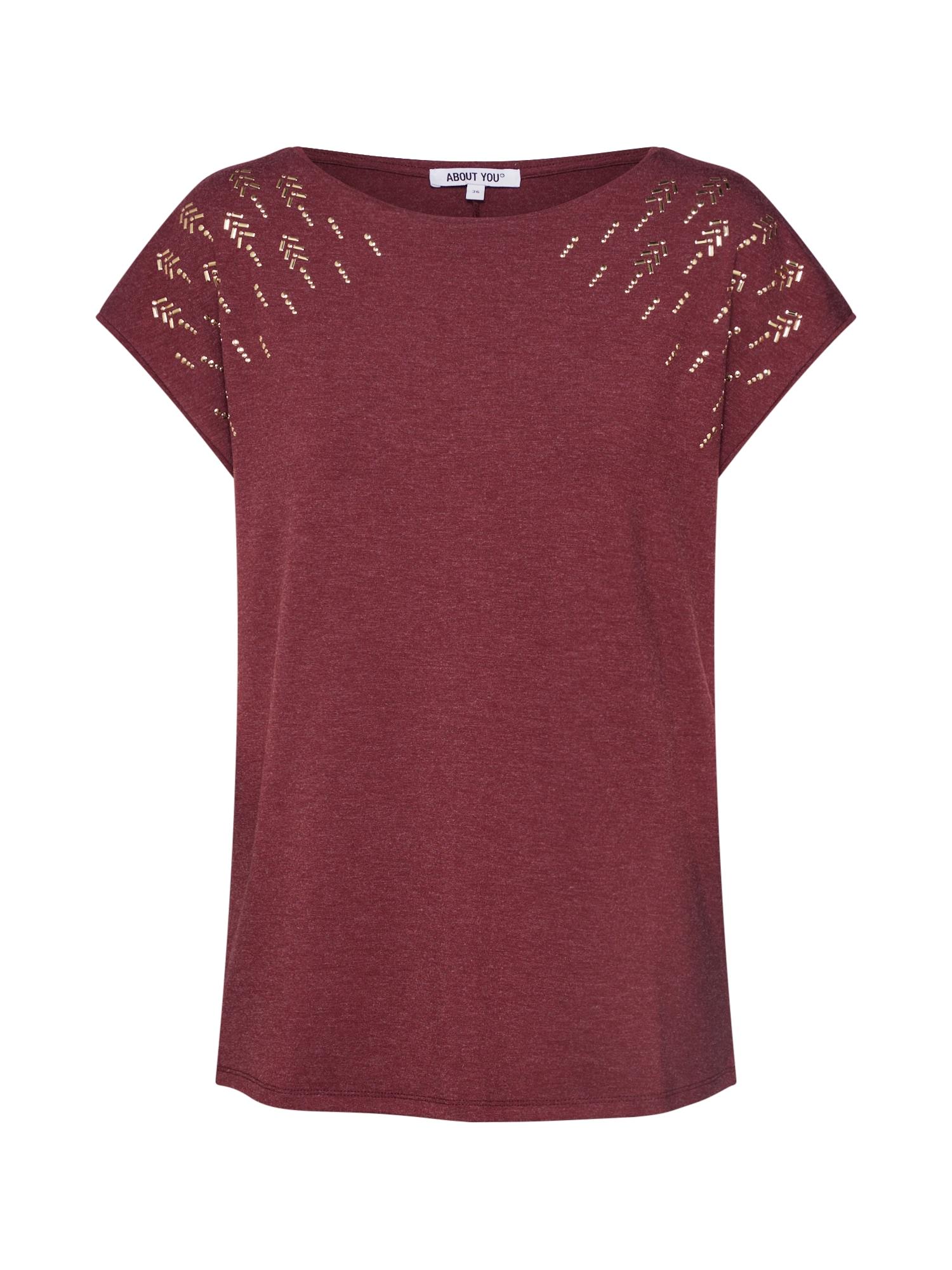 ABOUT YOU Marškinėliai 'Delia' vyšninė spalva