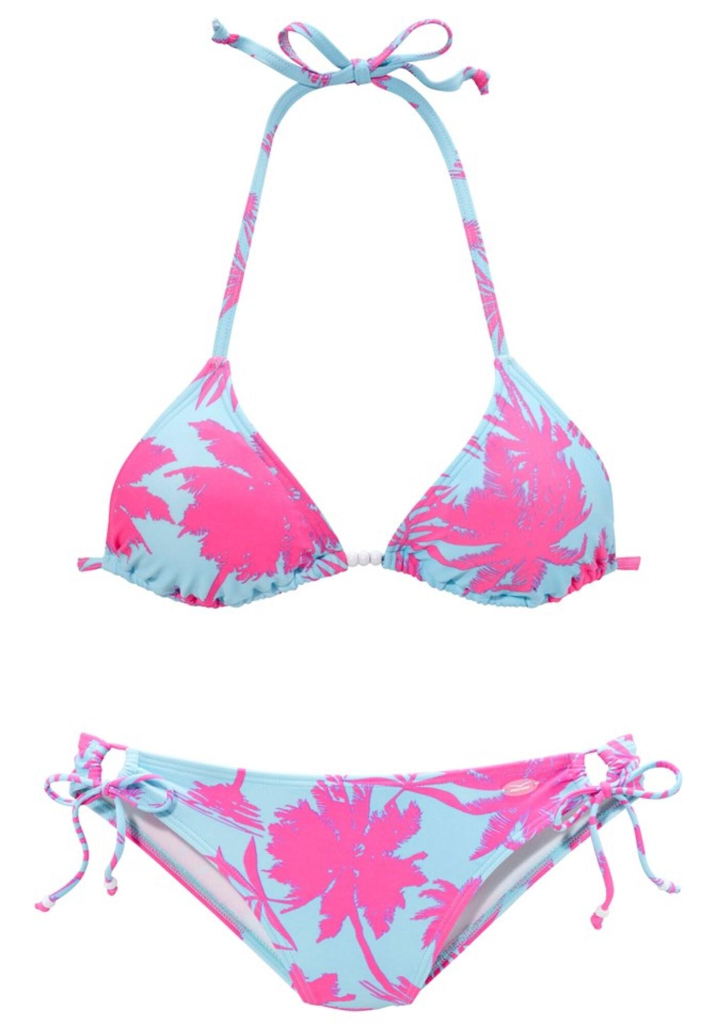 Bikiny světlemodrá svítivě růžová VENICE BEACH