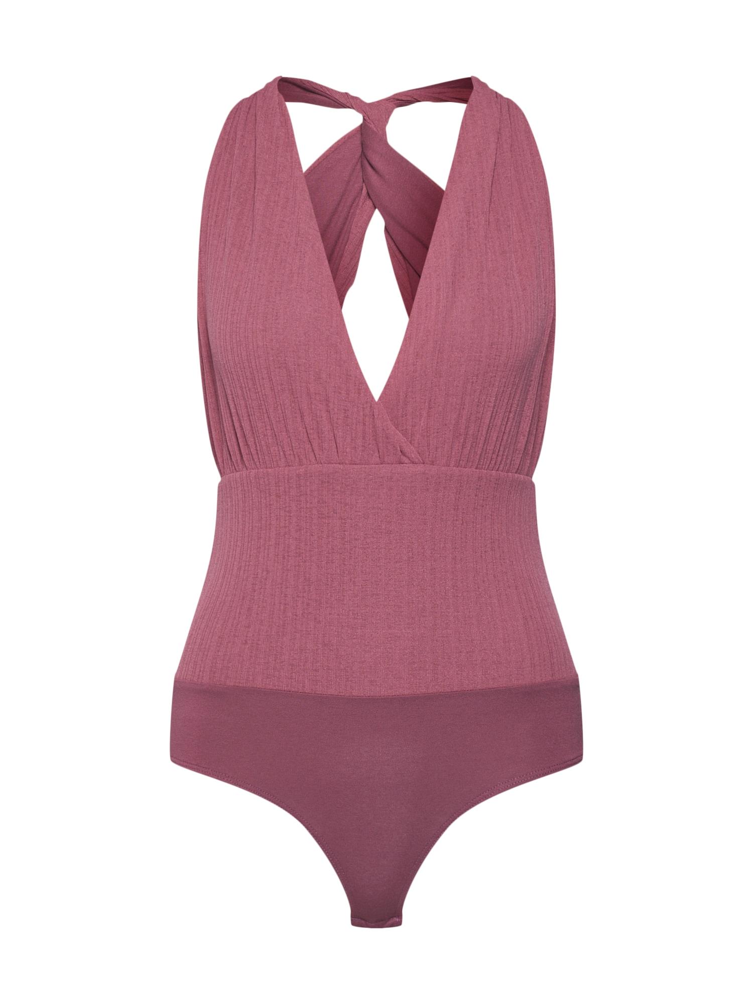 ABOUT YOU Marškinėliai-glaustinukė 'Rafaela' ryškiai rožinė spalva / vyšninė spalva