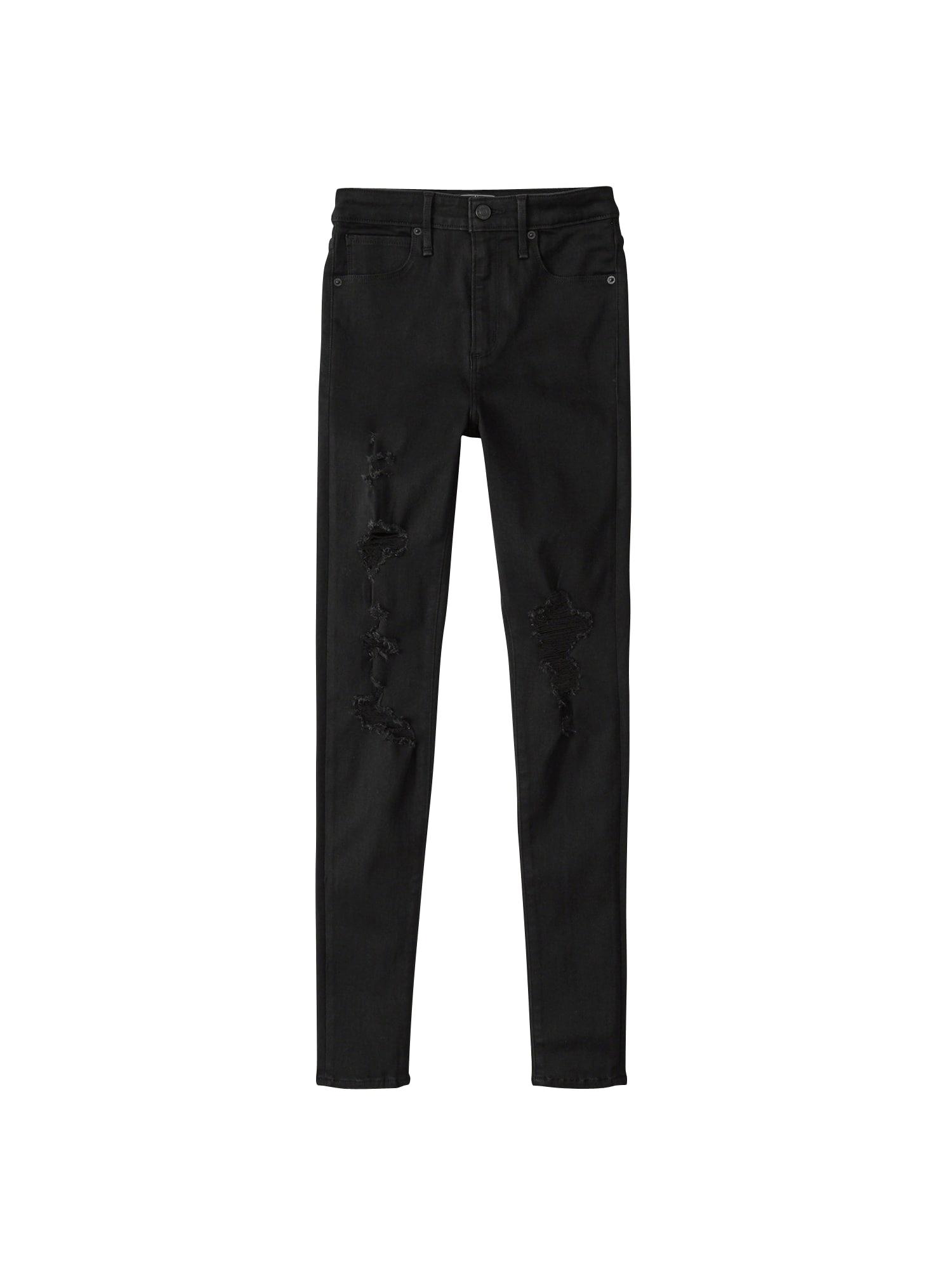 Džíny BTS17-BLACK SHRED SIMONE HRSS černá Abercrombie & Fitch