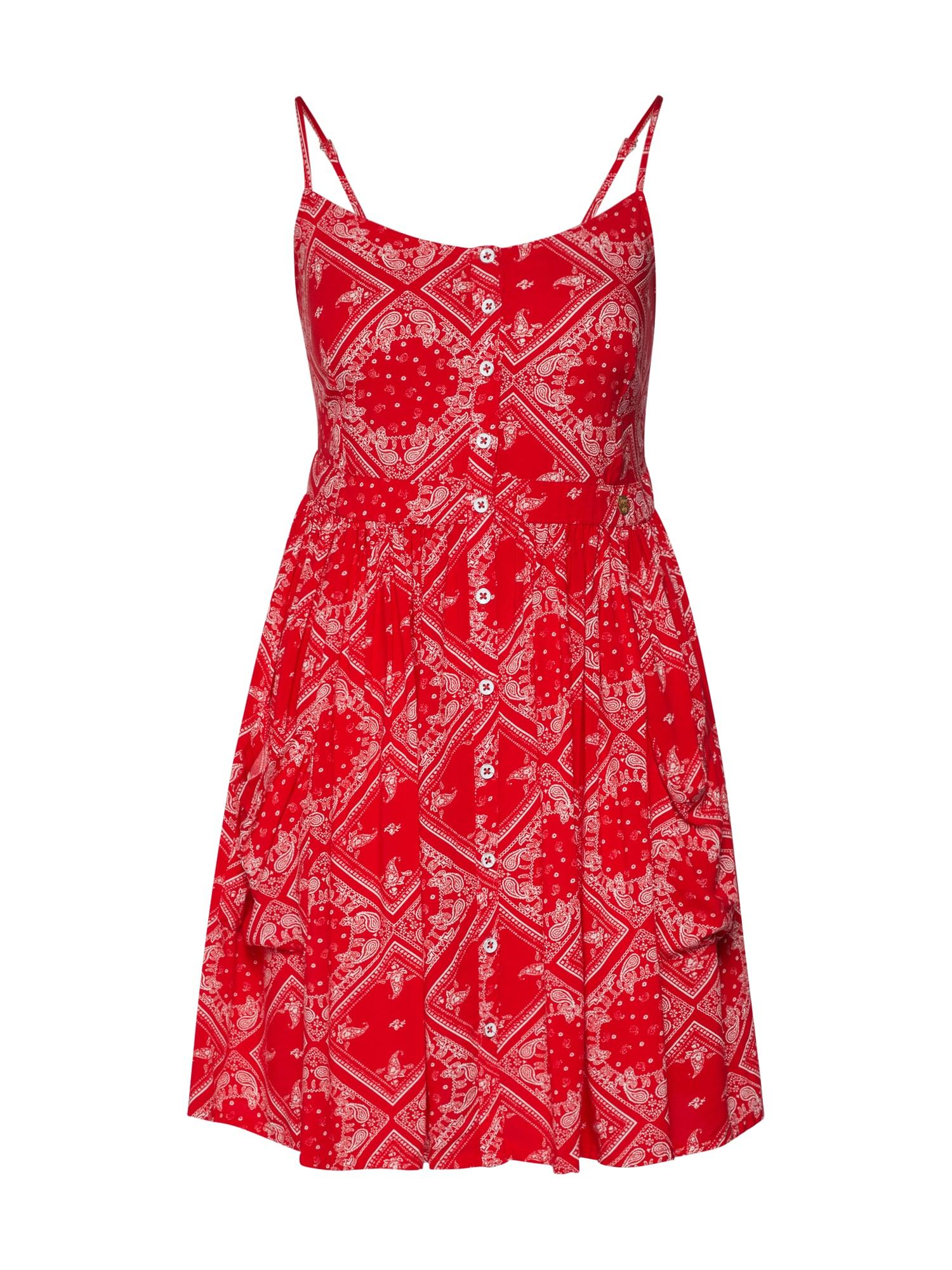 Superdry Letné šaty 'Amelie'  červené / biela