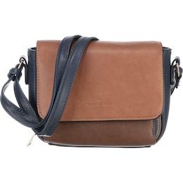 TOM TAILOR Damen Überschlagtasche Lorina blau,braun,cognac | 04251234432006