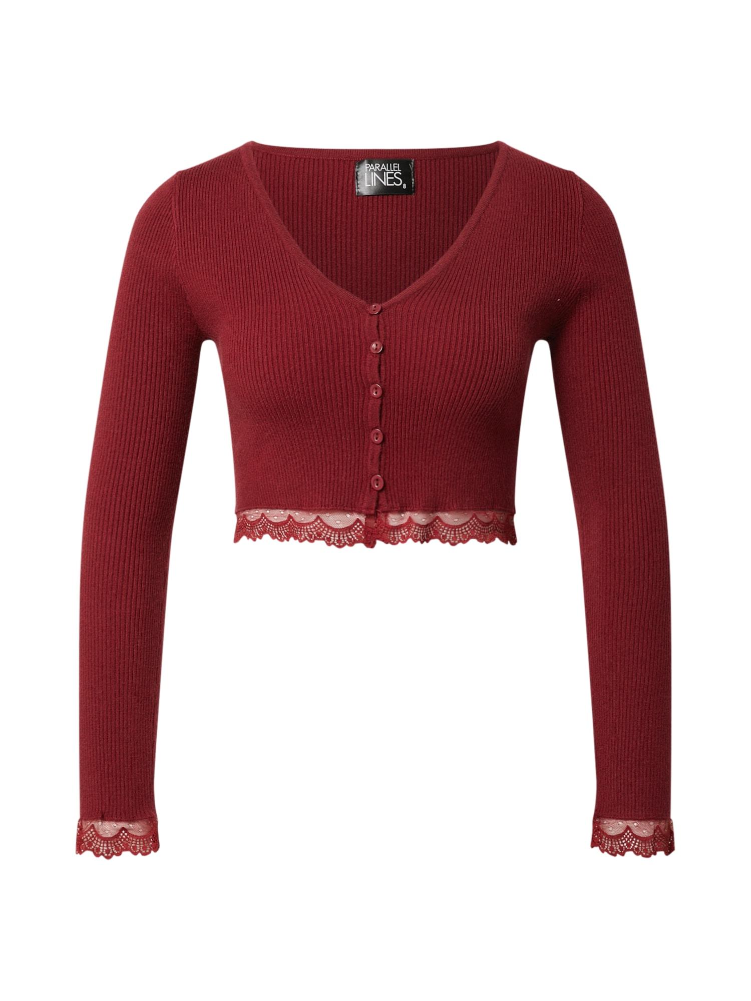 Parallel Lines Marškinėliai vyno raudona spalva