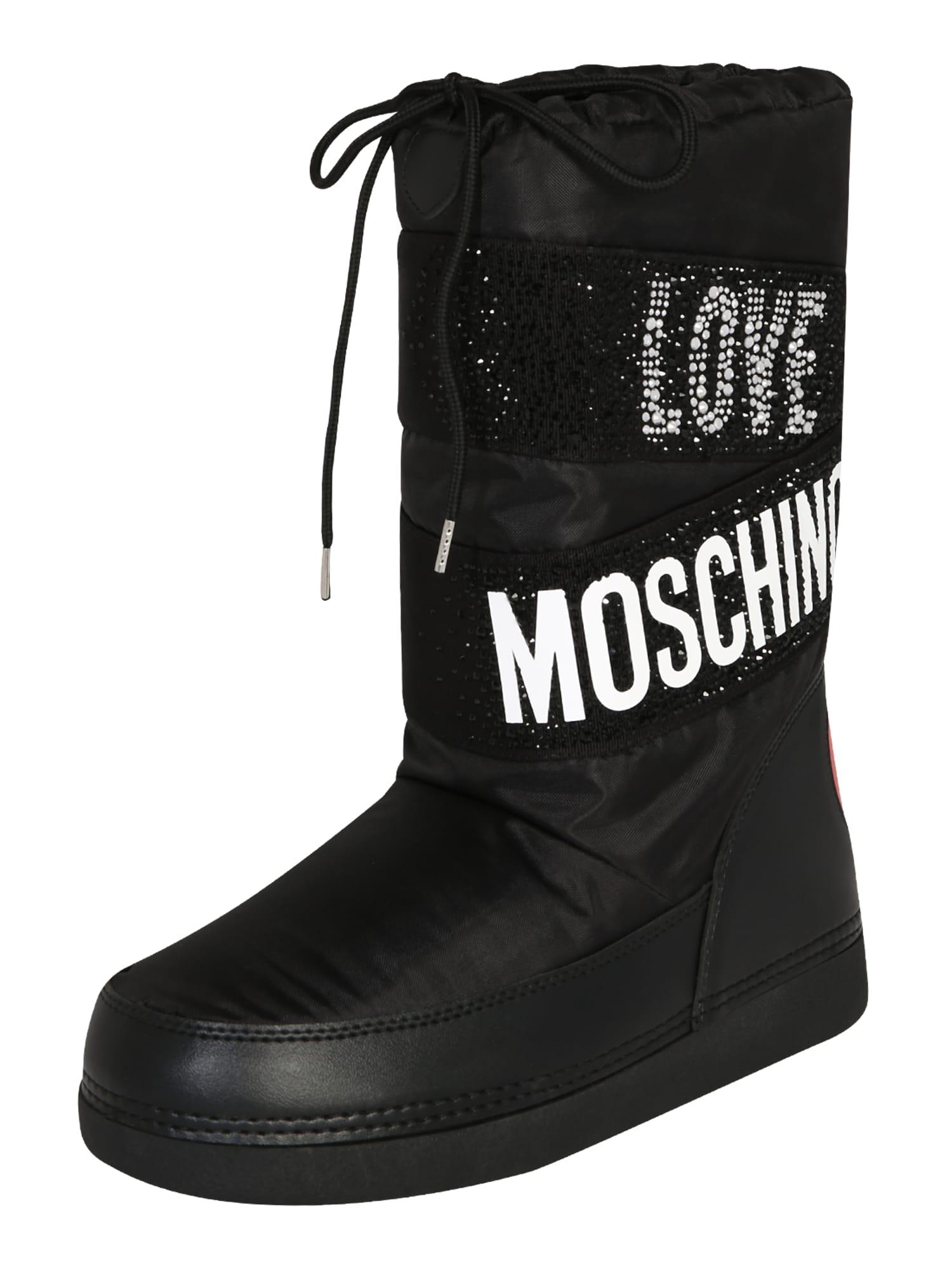 Love Moschino Čižmy  čierna / biela