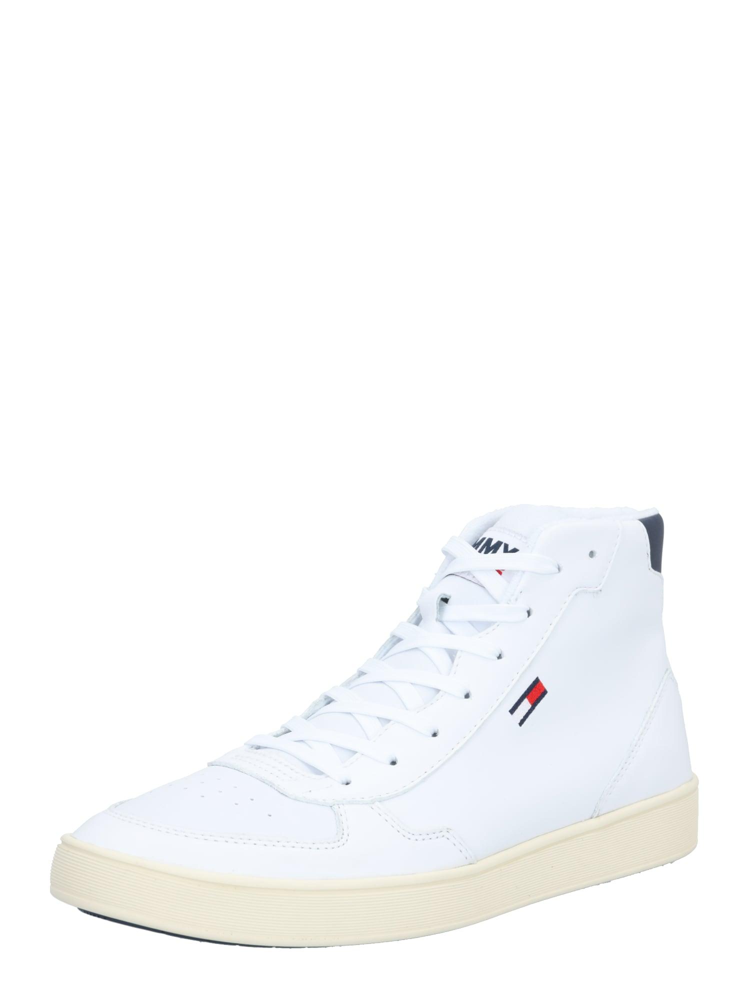 Tommy Jeans Kotníkové tenisky  bílá / námořnická modř / červená
