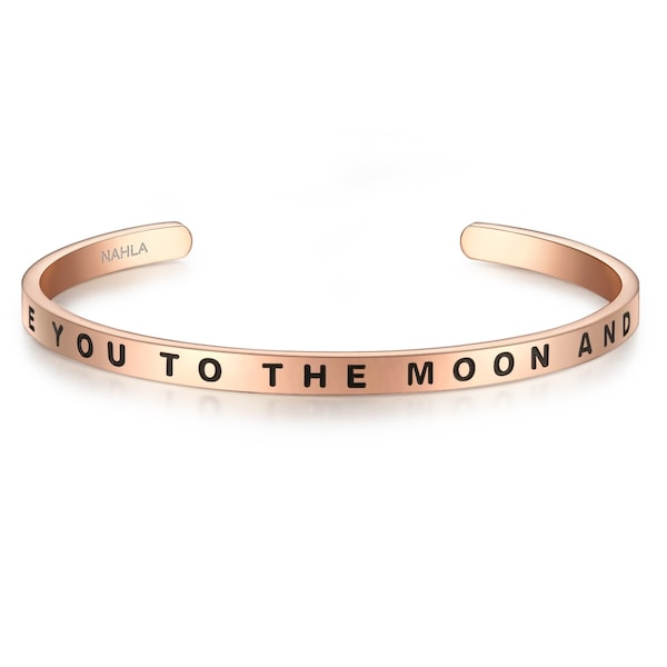 Armbaender für Frauen - Nahla Jewels Edelstahlarmreif mit Schriftzug I LOVE YOU TO THE MOON AND BACK rosegold schwarz  - Onlineshop ABOUT YOU