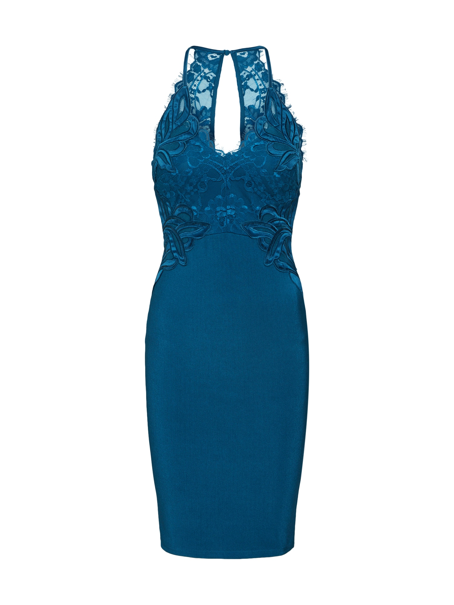 Koktejlové šaty TEAL APPLIQUE HIGH NECK BODYCON petrolejová Lipsy