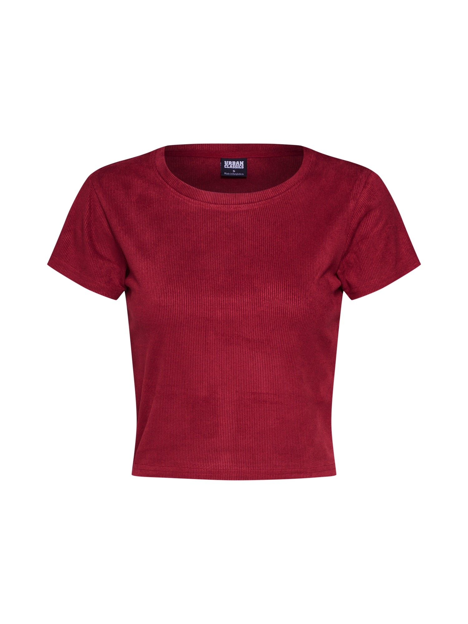 Urban Classics Tričko 'Ladies Cropped Peached Rib Tee'  vínovo červená