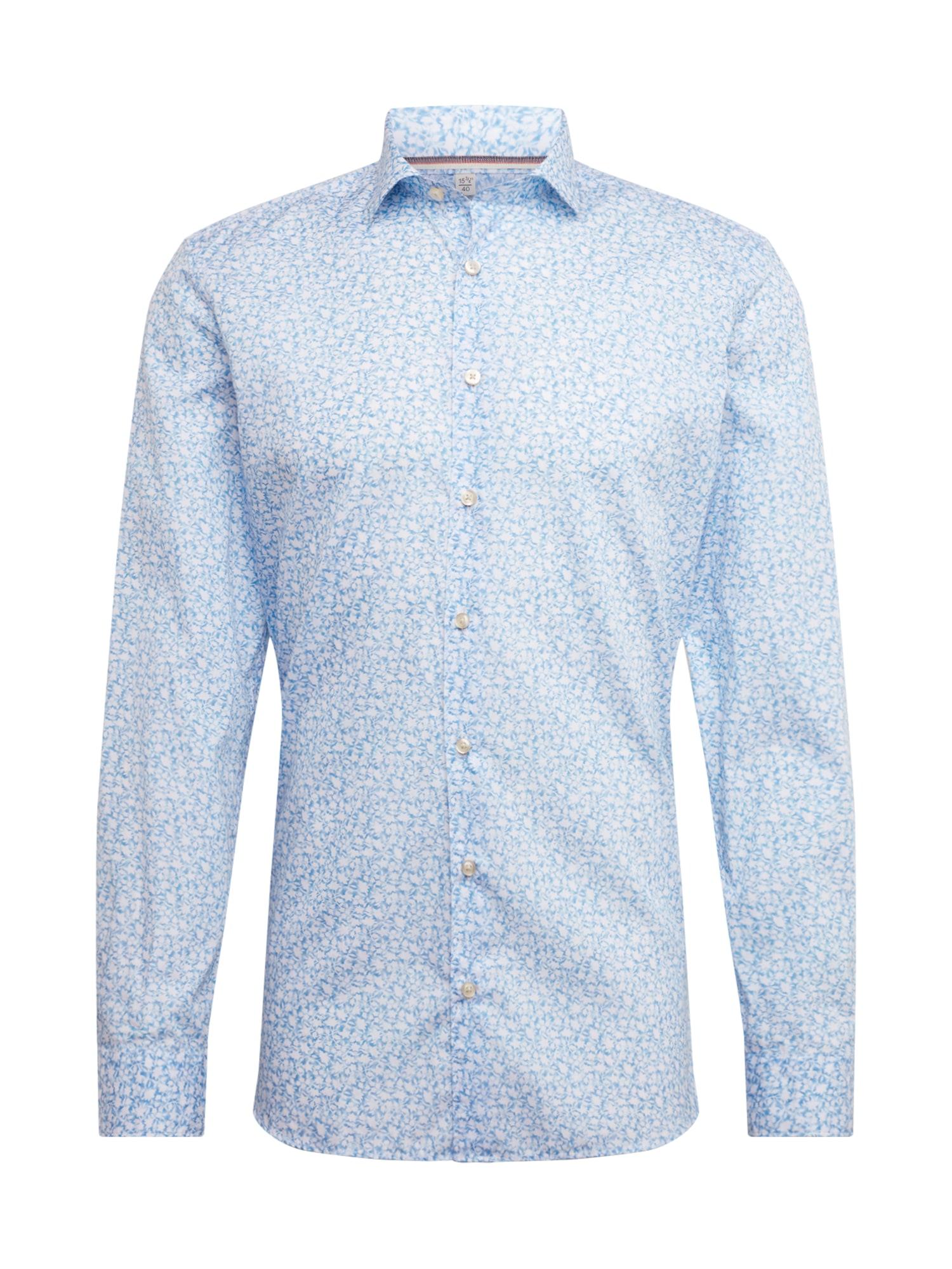 OLYMP Dalykinio stiliaus marškiniai šviesiai mėlyna / balta