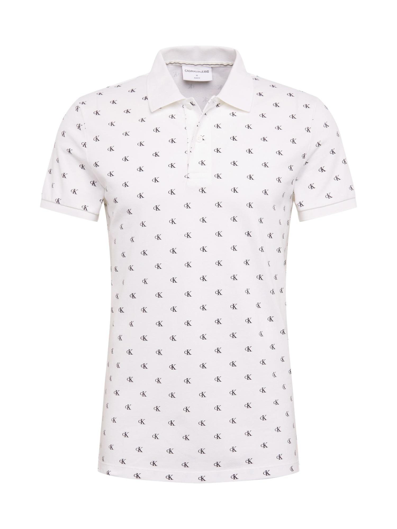 Calvin Klein Jeans Tričko  šedá / bílá