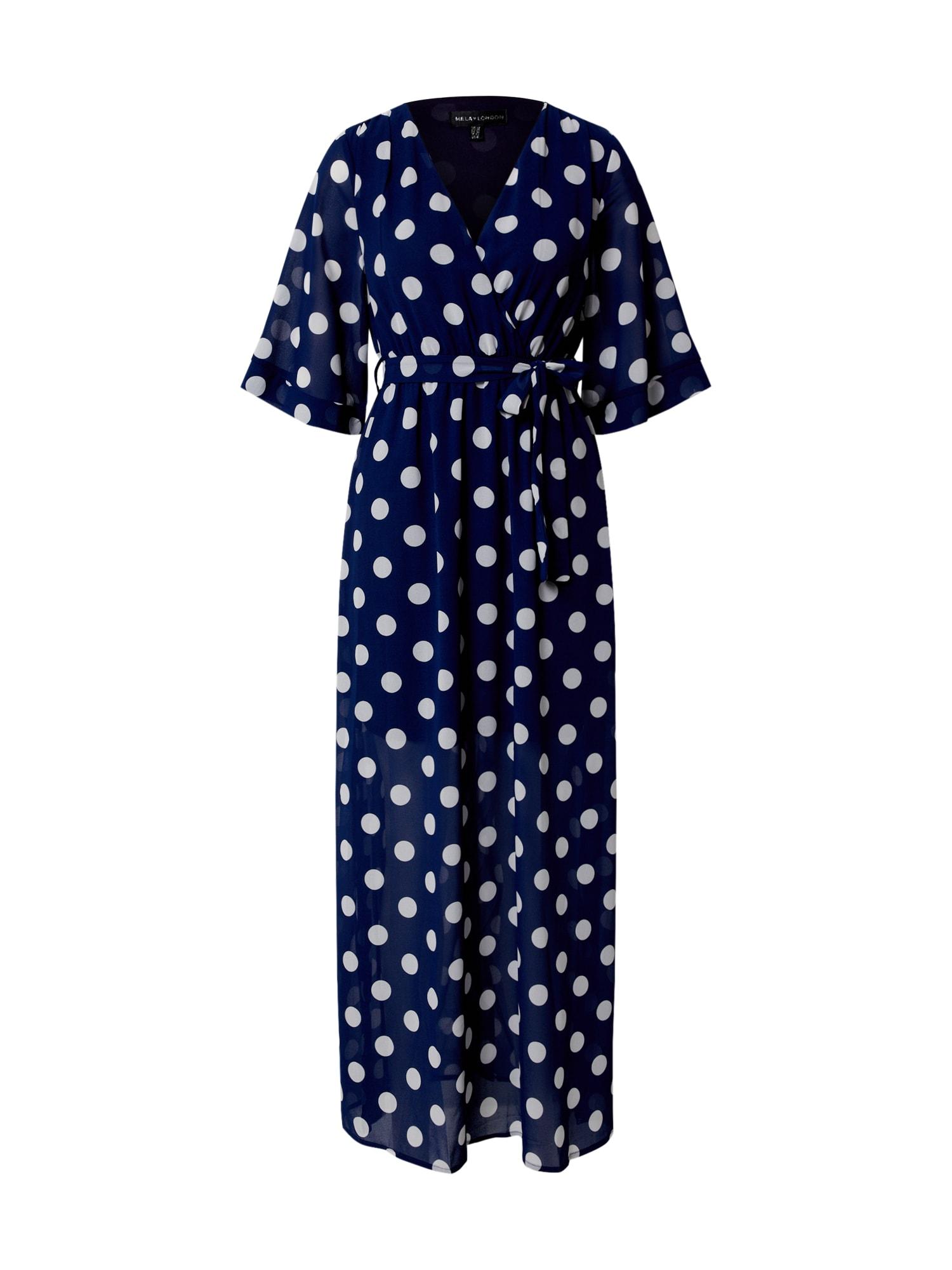 Mela London Šaty 'POLKA DOT'  biela / námornícka modrá
