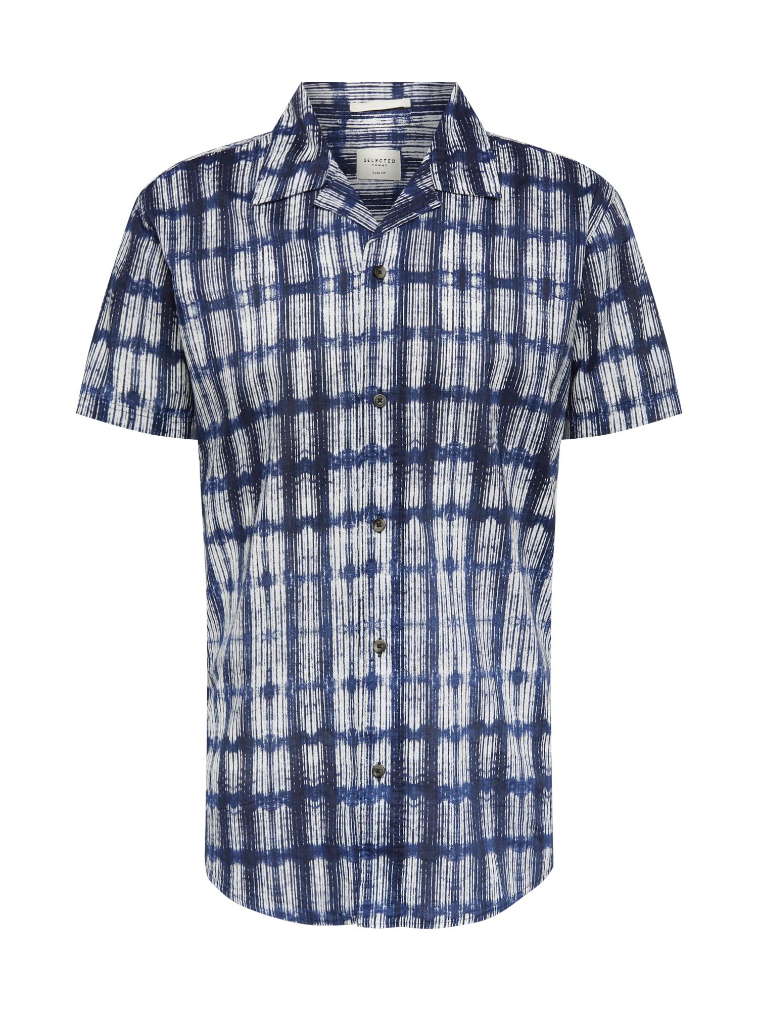 Košile SLHSLIMTOKYO SHIRT SS AOP W CAMP tmavě modrá bílá SELECTED HOMME