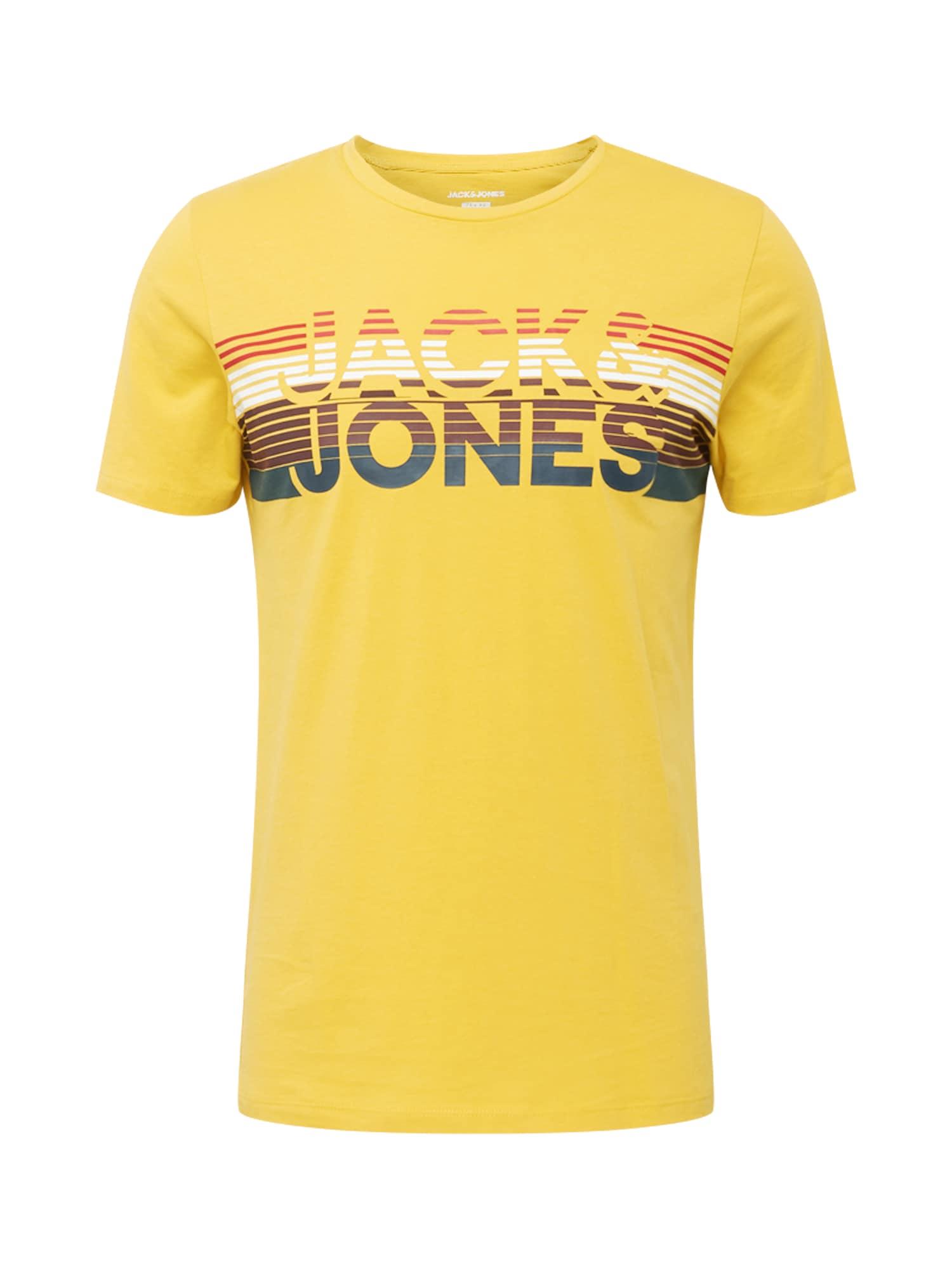 JACK & JONES Tričko 'Meta'  žlutá / bílá / bobule / pitaya / námořnická modř