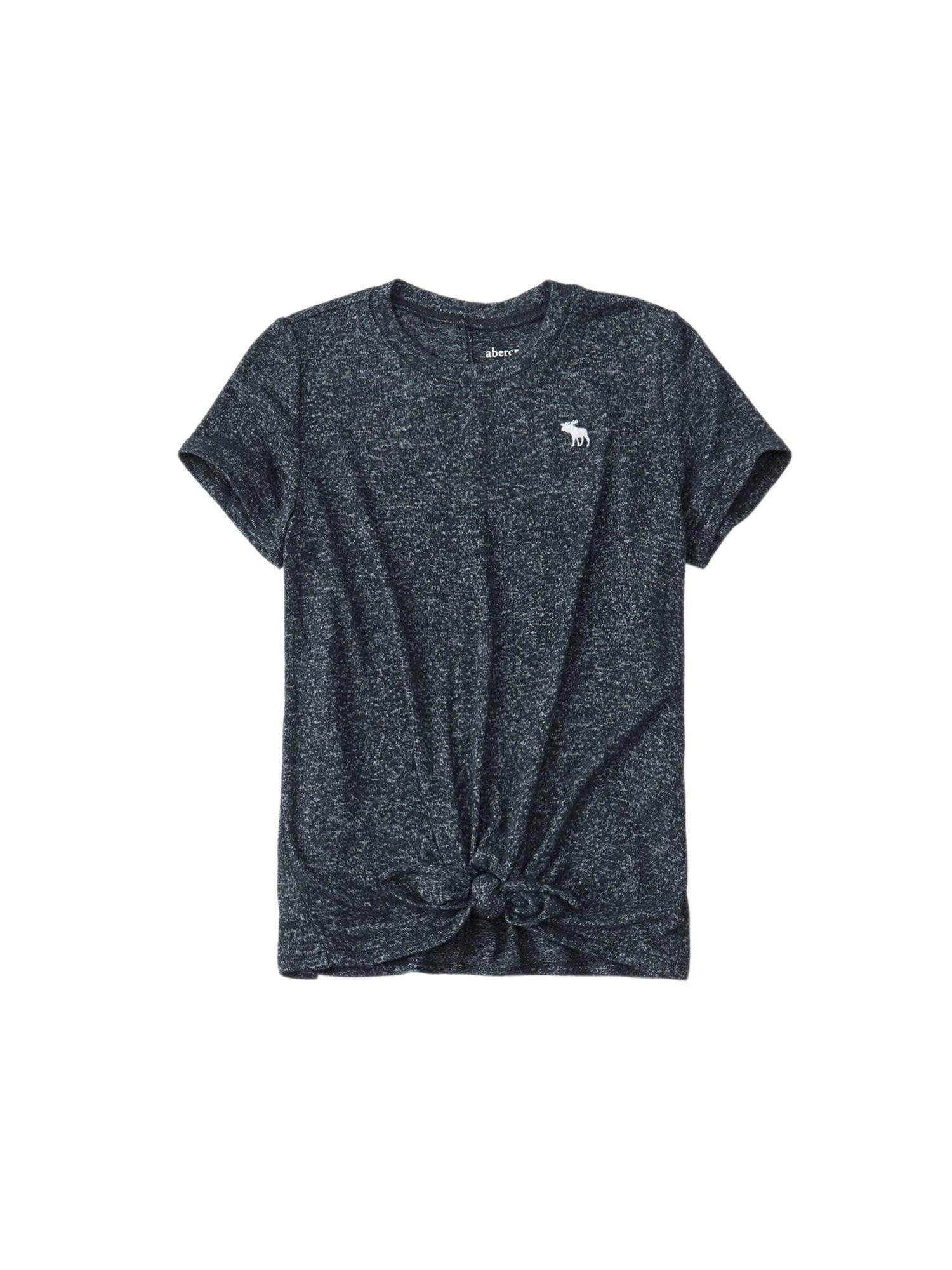 Tričko COZY TIE-FRONT TEE 3CC námořnická modř Abercrombie & Fitch