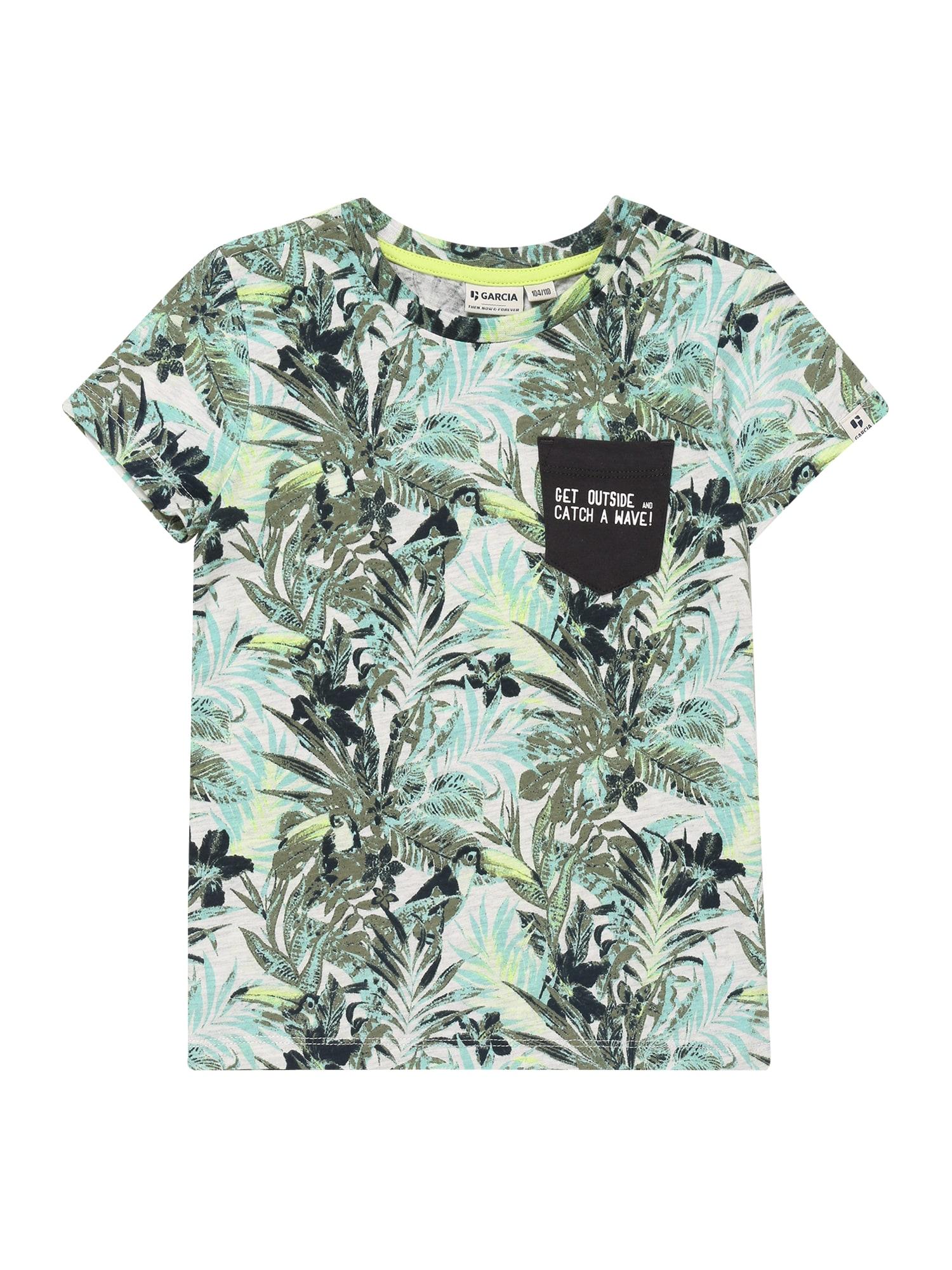 GARCIA Tričko  biela / zelená / tyrkysová
