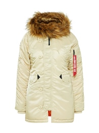 ALPHA INDUSTRIES,Alpha Industries Damen Winterjacke mit Kapuze creme,beige | 04059146058501