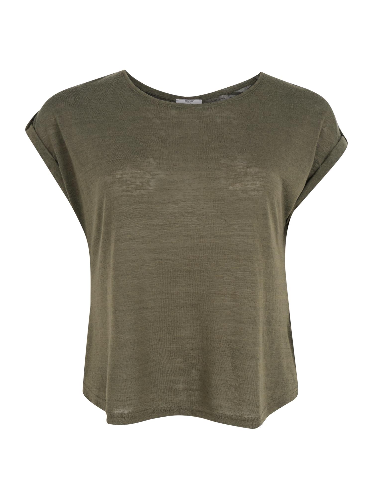 ABOUT YOU Curvy Marškinėliai 'Kaili Shirt' žalia / rusvai žalia / tamsiai žalia