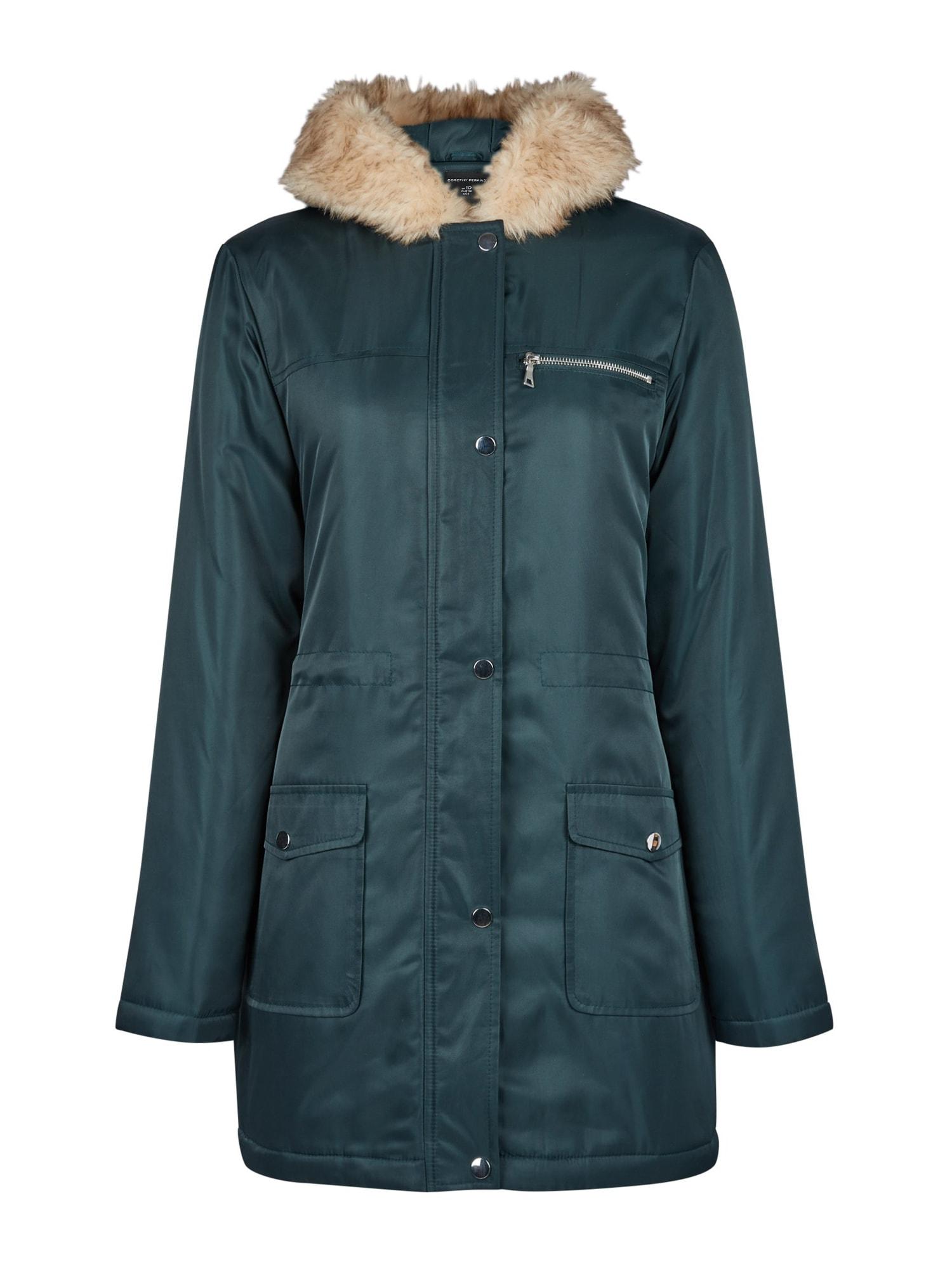 Dorothy Perkins Ilga rudeninė-žieminė striukė 'LUXE' žalia / rusvai žalia