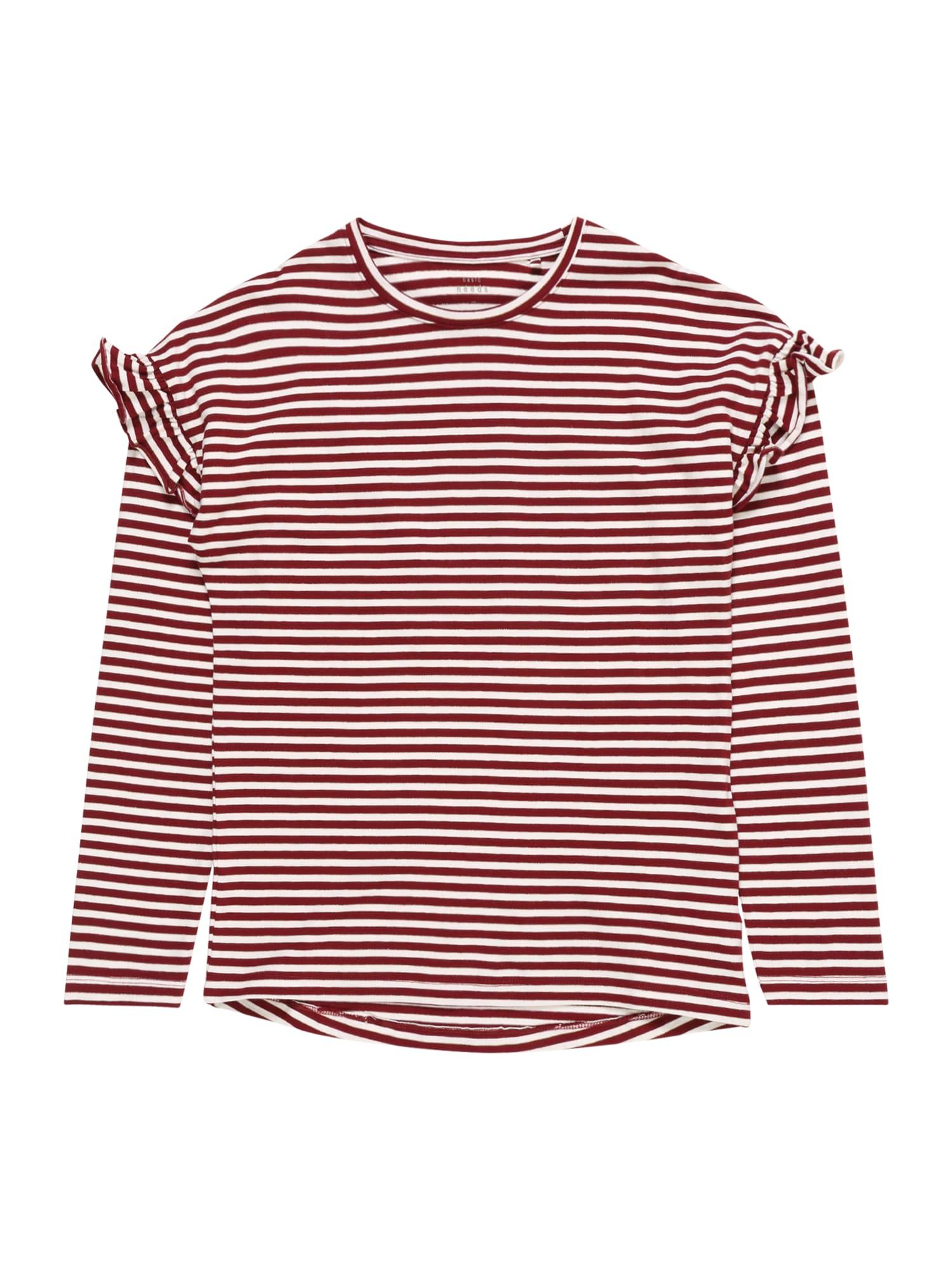 NAME IT Marškinėliai 'NKFVERDI' vyno raudona spalva / balta
