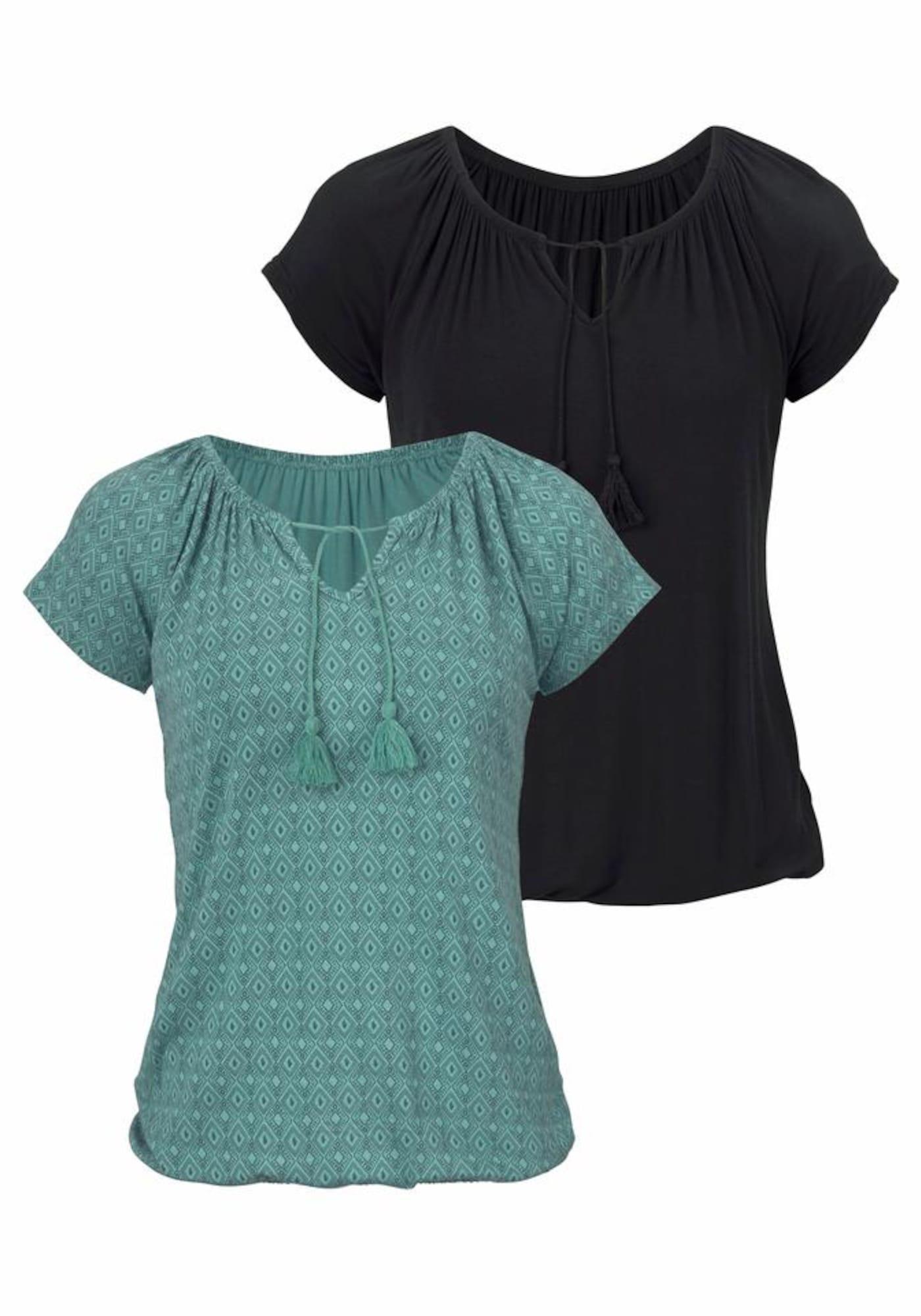 VIVANCE Marškinėliai mėtų spalva / juoda