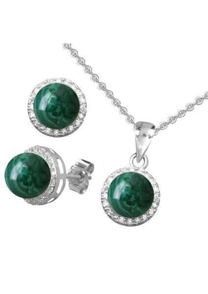 Schmucksets für Frauen - FIRETTI Ohrstecker und Halskette mit Malachit und Zirkonia (4tlg.) dunkelgrün silber  - Onlineshop ABOUT YOU