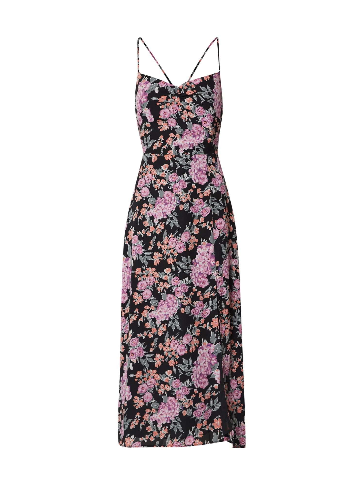 Fashion Union Vakarinė suknelė 'ALMOND' rožių spalva / juoda / rožinė