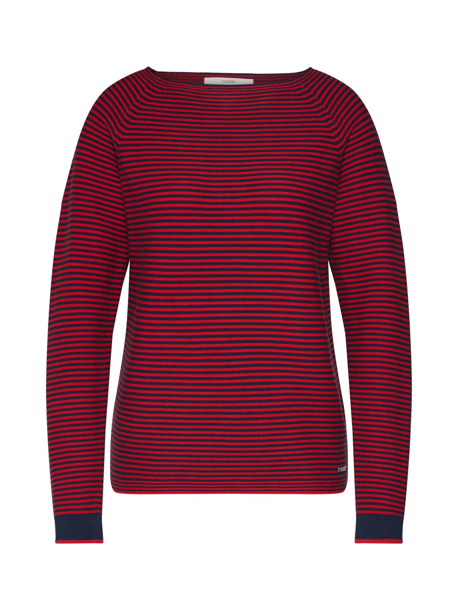 ESPRIT Megztinis tamsiai mėlyna / mišrios spalvos / ryškiai raudona